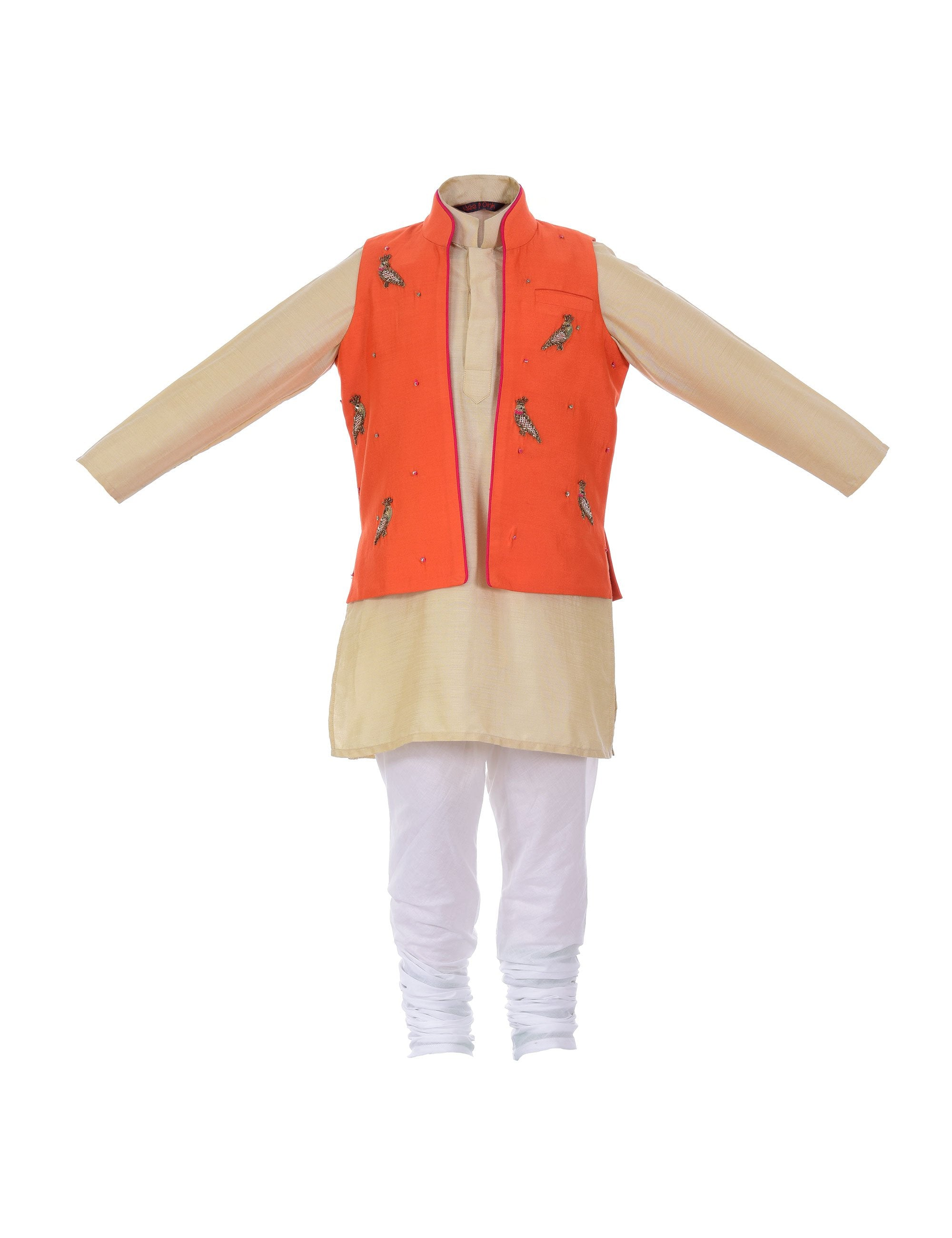 Kurta with Zardozi Tia Jacket in Beige for Boys
