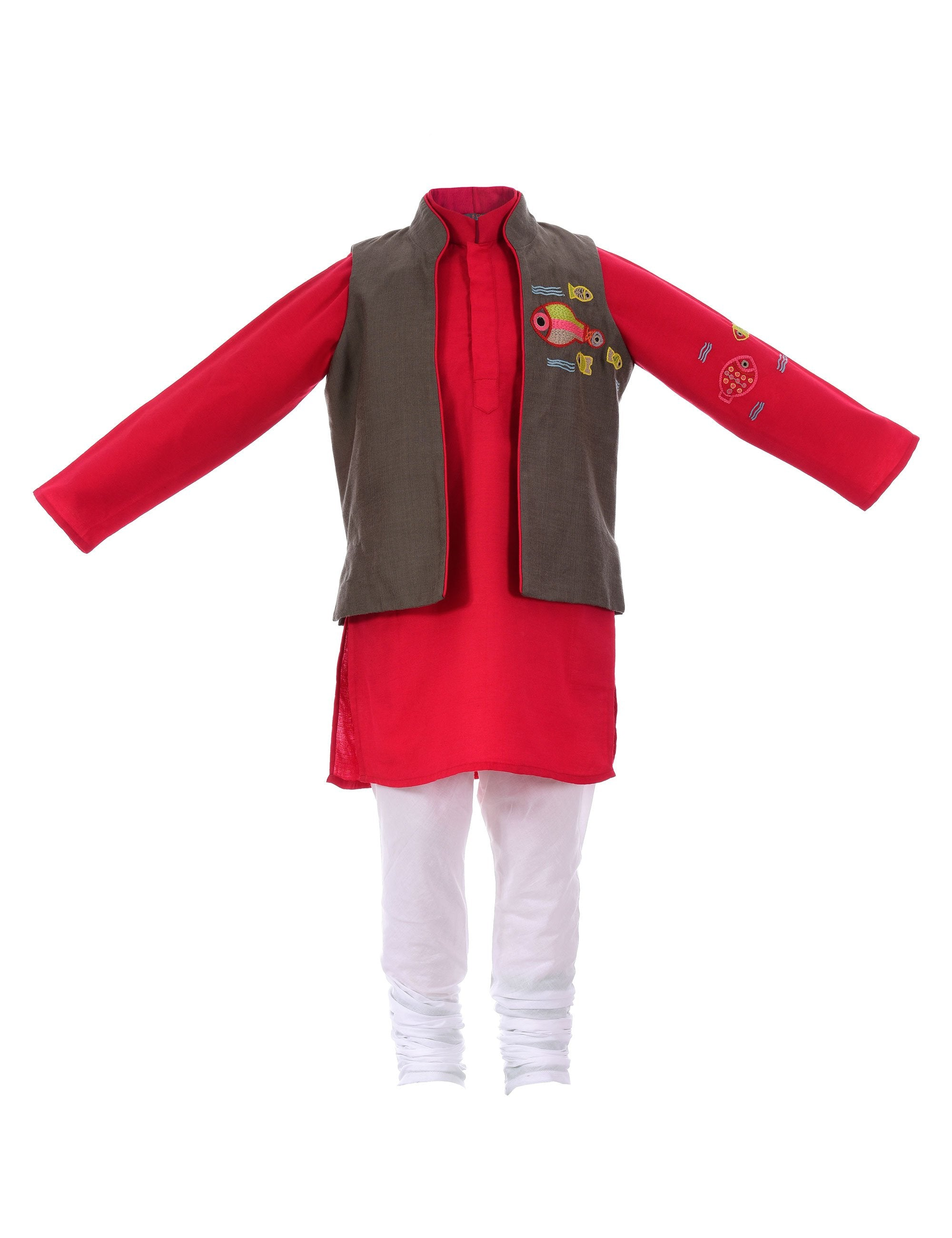 Kurta with Multi Fish Jacket in Red for Boys