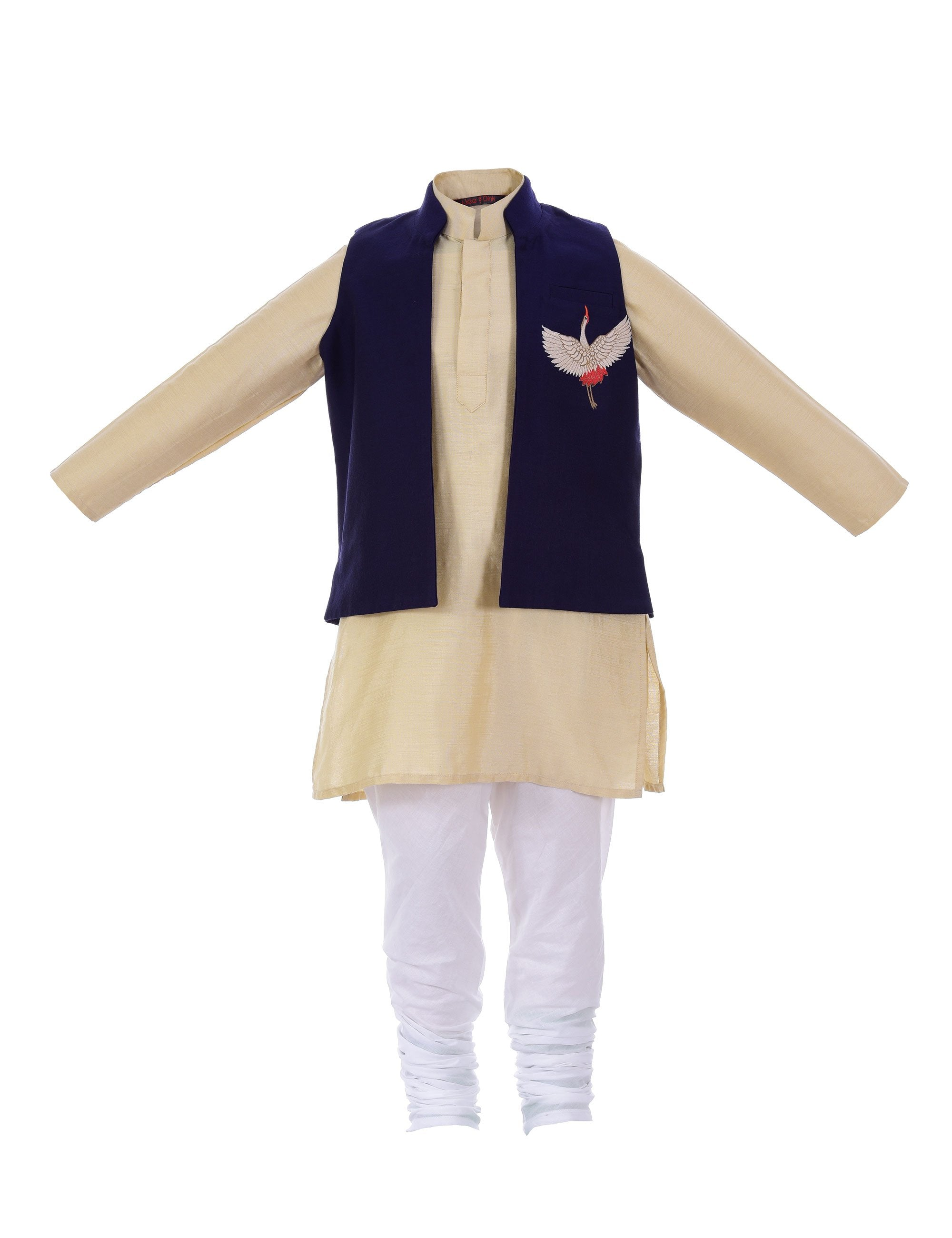 Kurta with Crane Jacket in Blue for Boys