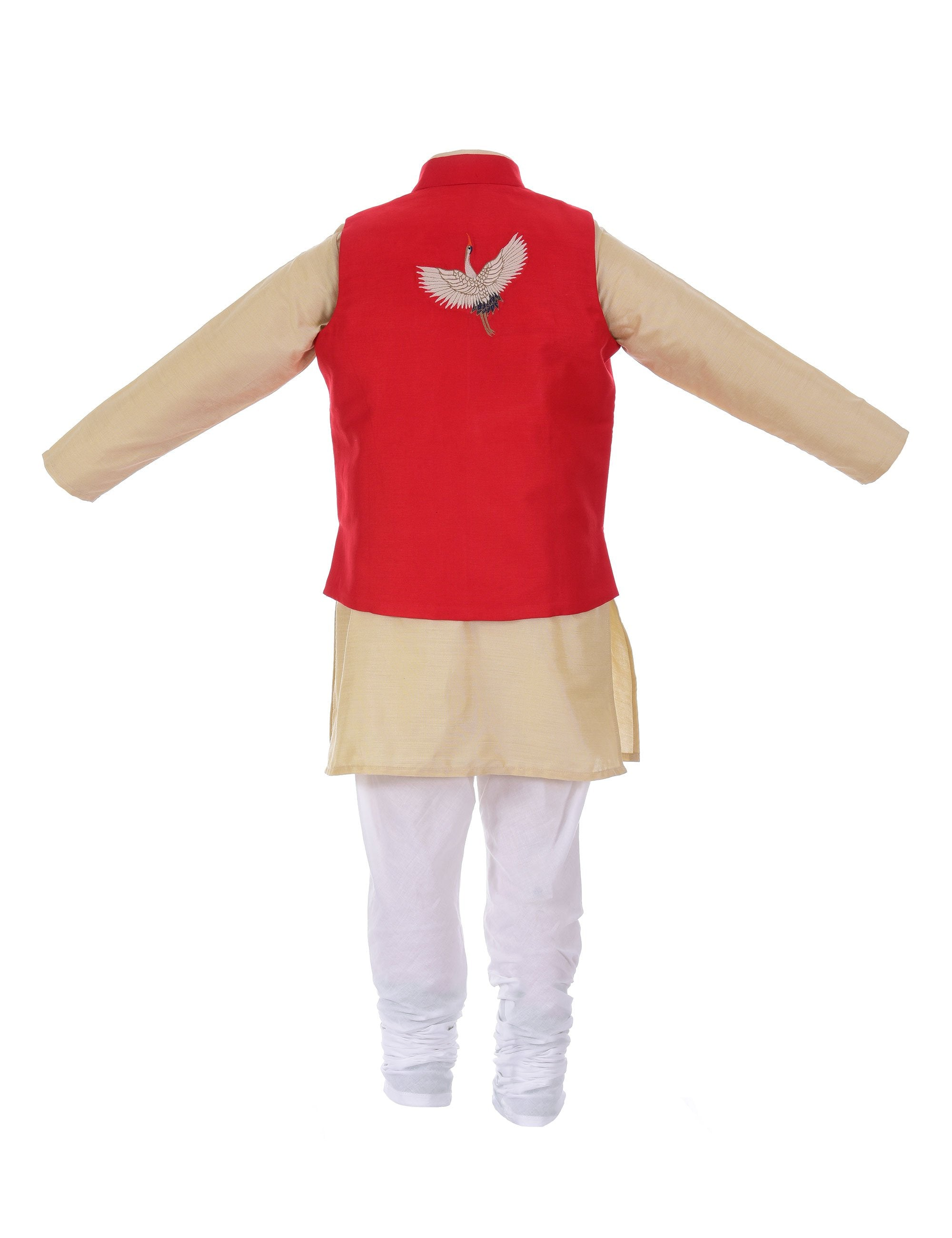 Kurta with Crane Jacket in Red for Boys