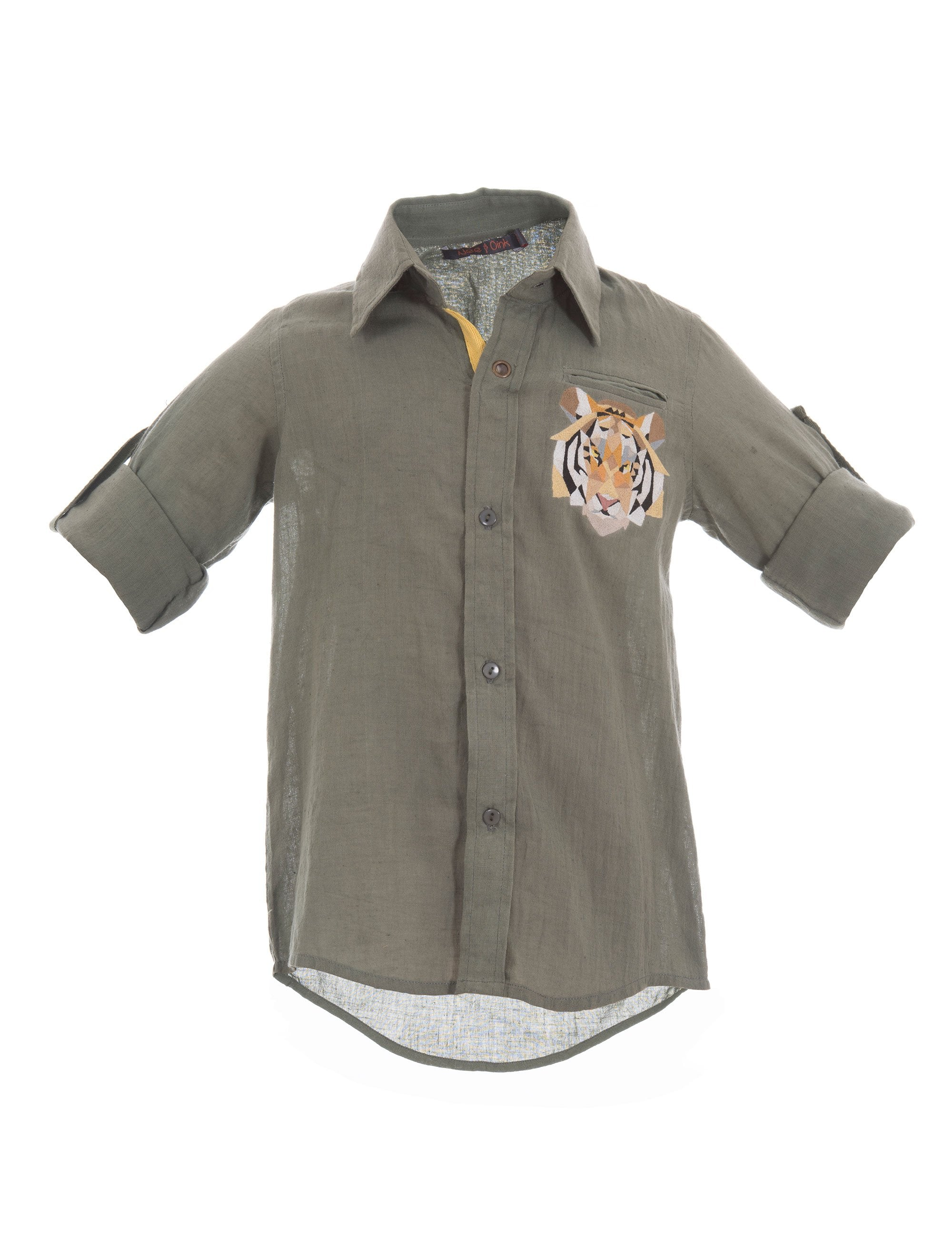 Safari Shirt in Green for Boys