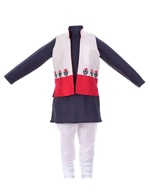 Festive Two Toned Jacket with Kurta in Blue for Boys