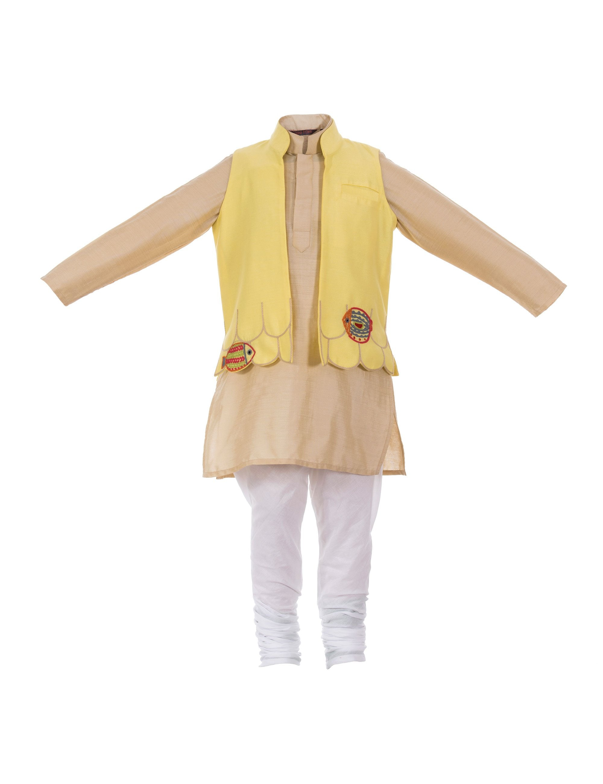 Save Our Seas Bandhgala with Kurta in Yellow for Boys