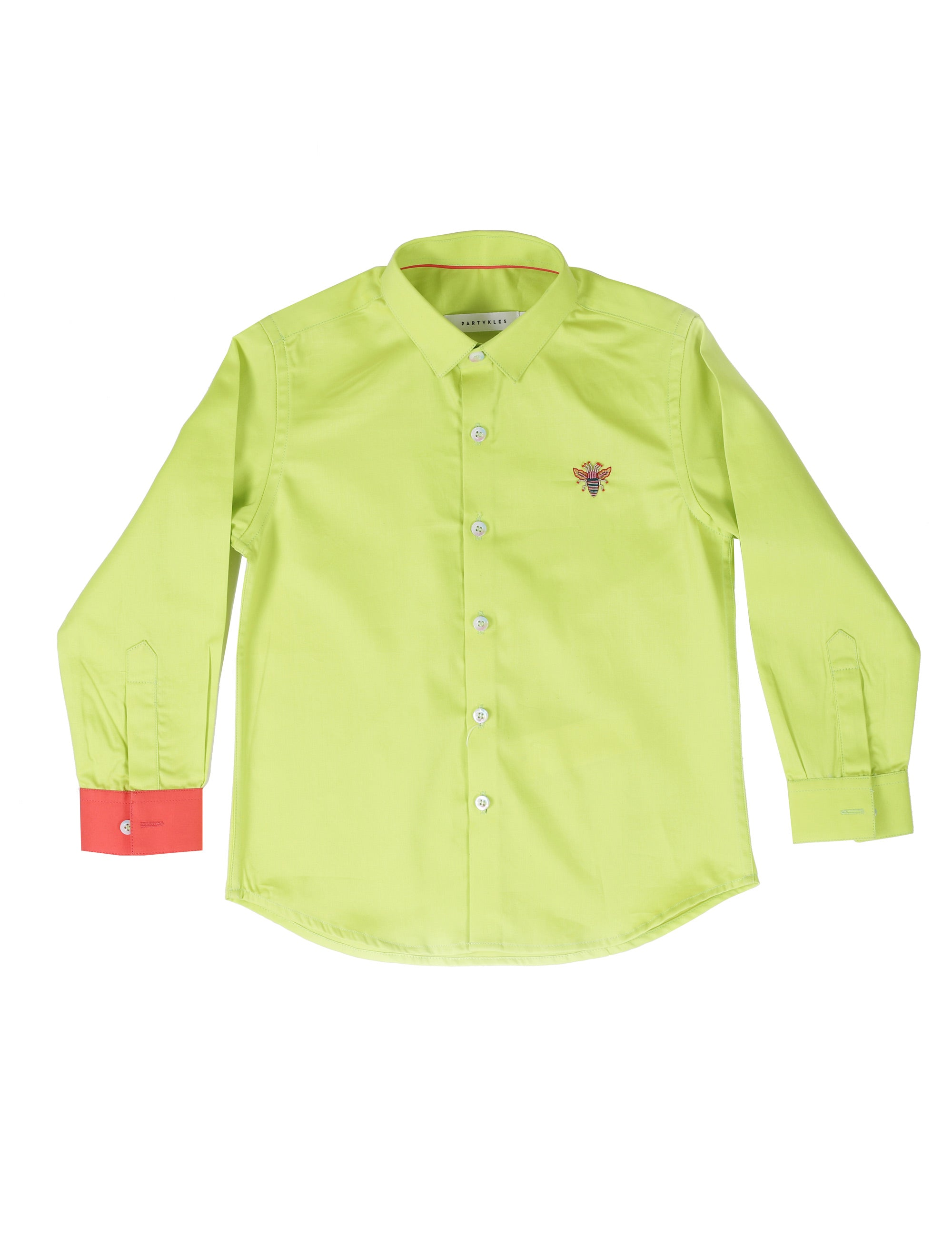 Green Party Wear Shirt with Bee Embroidery