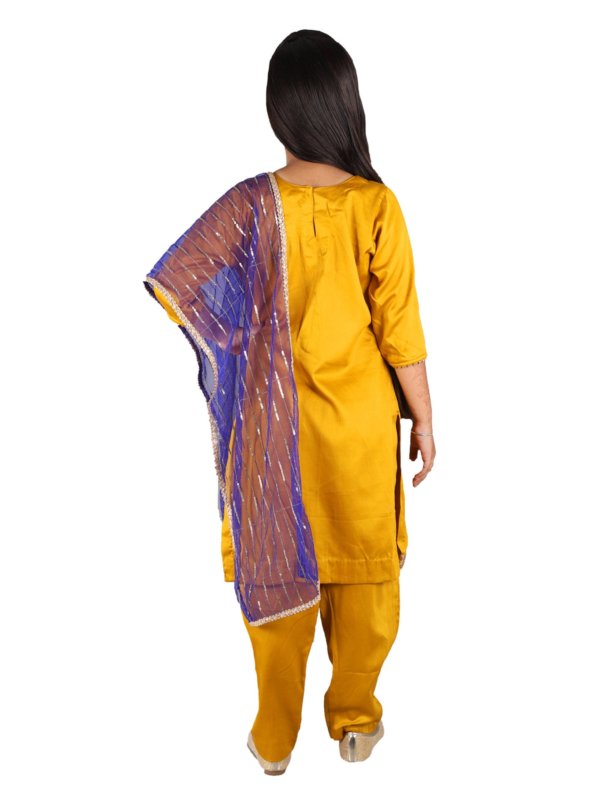 f24dd03c76 Buy Mustard Yellow Suit with Blue Dupatta at best Price - Mini Firgun