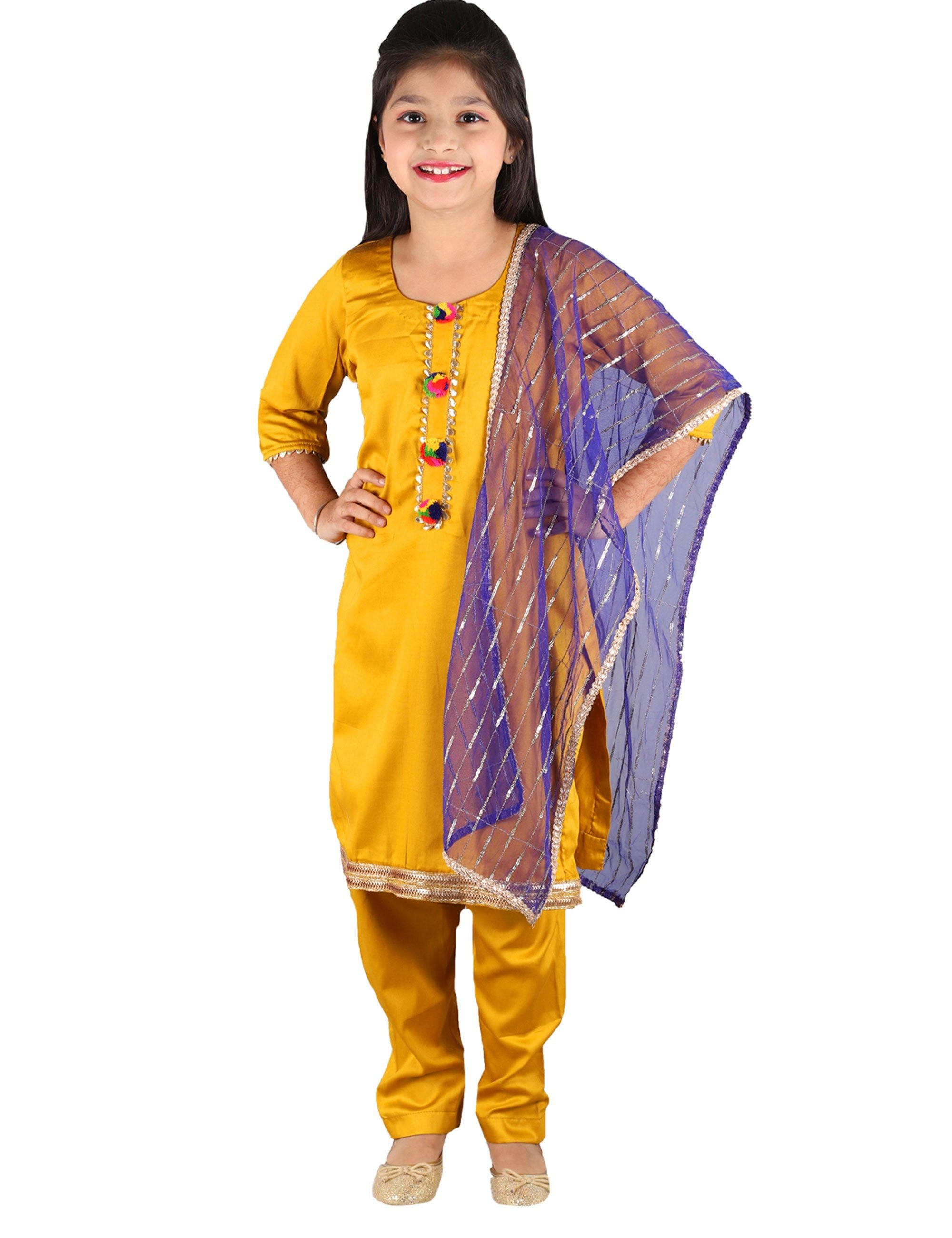 Mustard Yellow Suit with Blue Dupatta