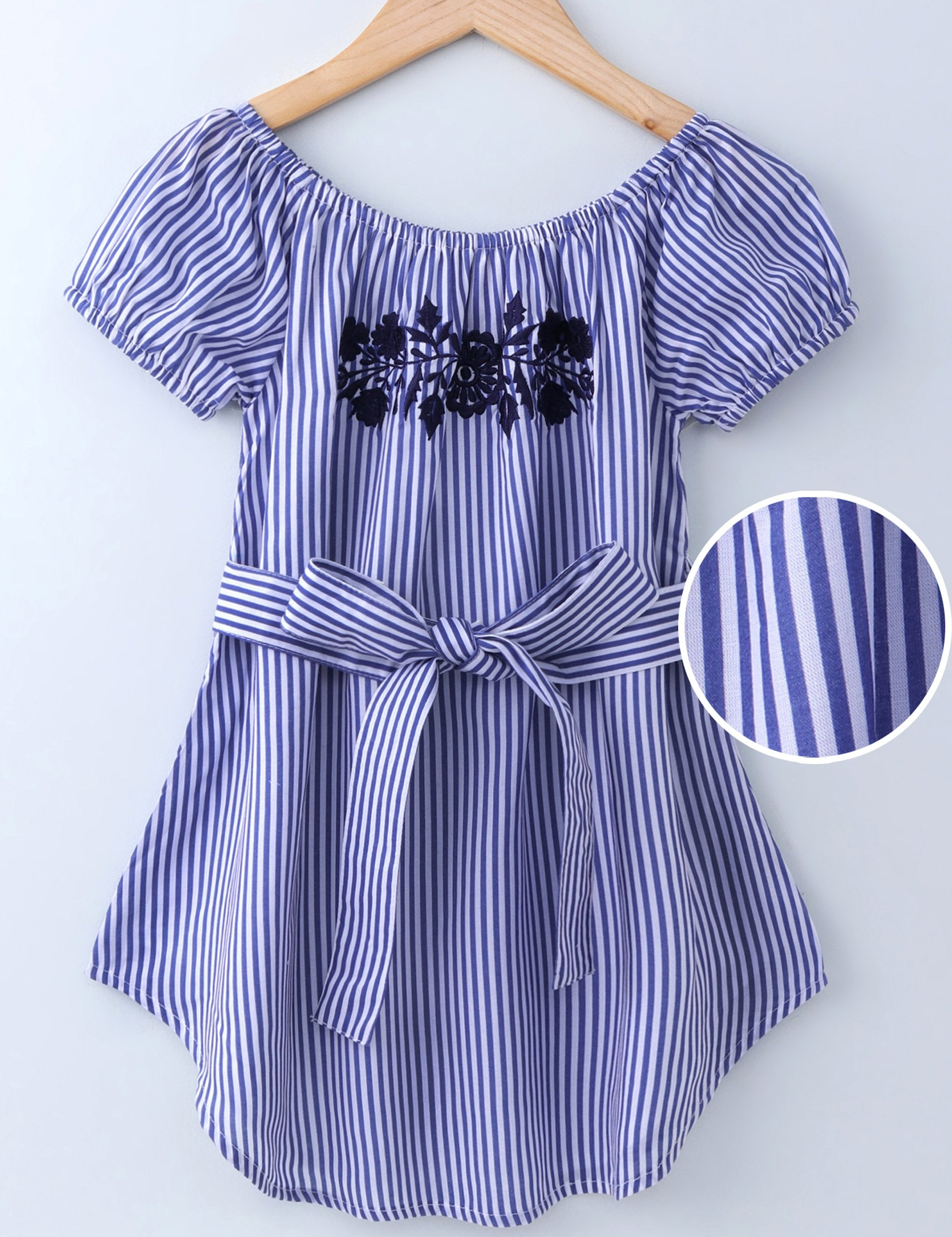 Short Sleeves Striped Dress - Blue