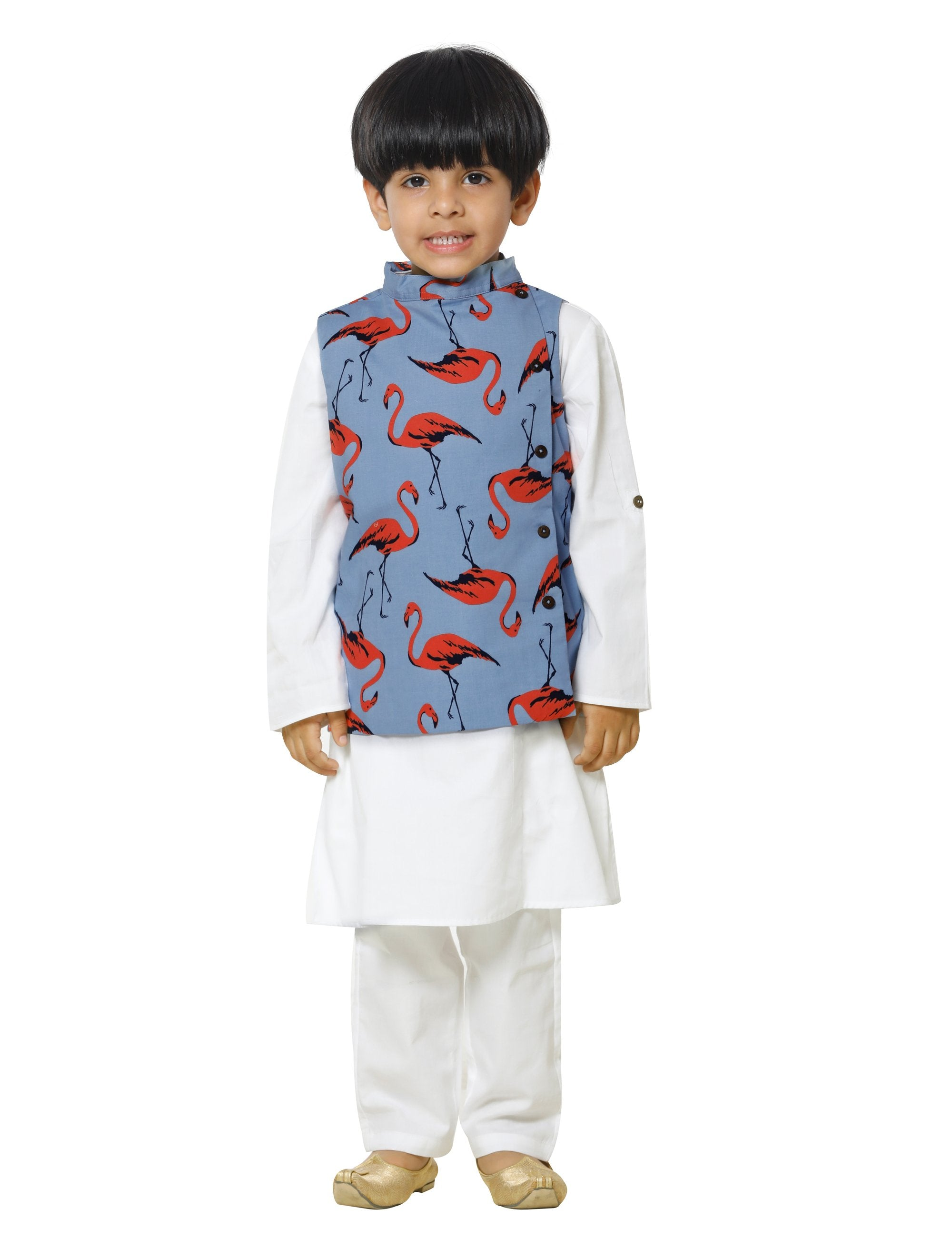 Flamingo Jacket with White Kurta Pyjama Set