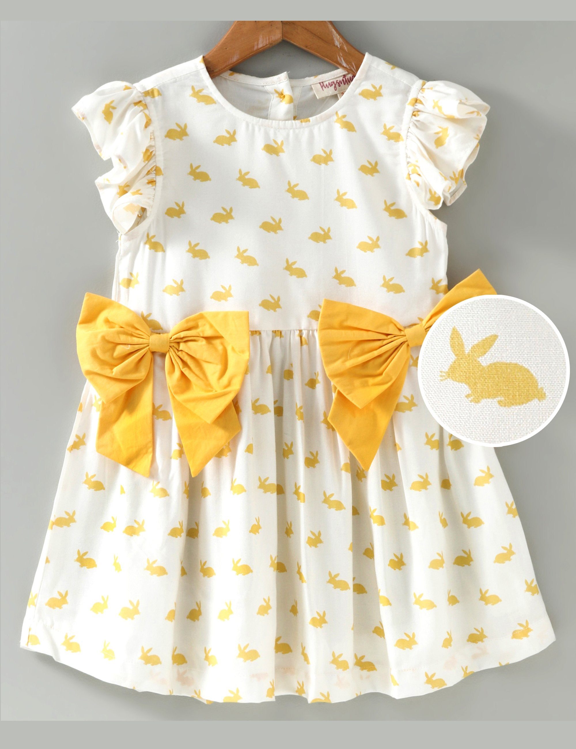 Cap Sleeves Bunny Print Bow  Dress - White