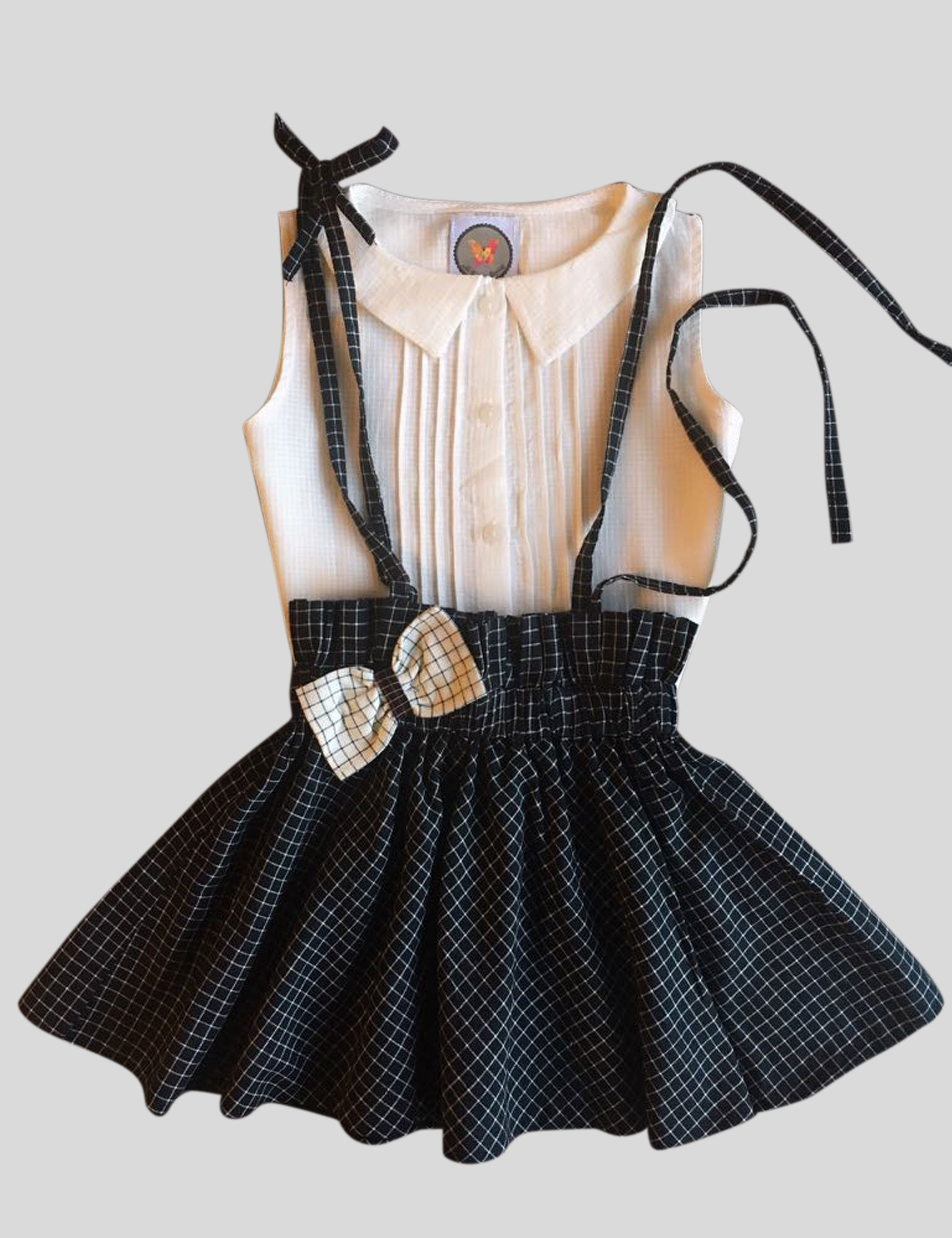 Checkered Paper Bag Waist Suspender Skirt Set for Girls
