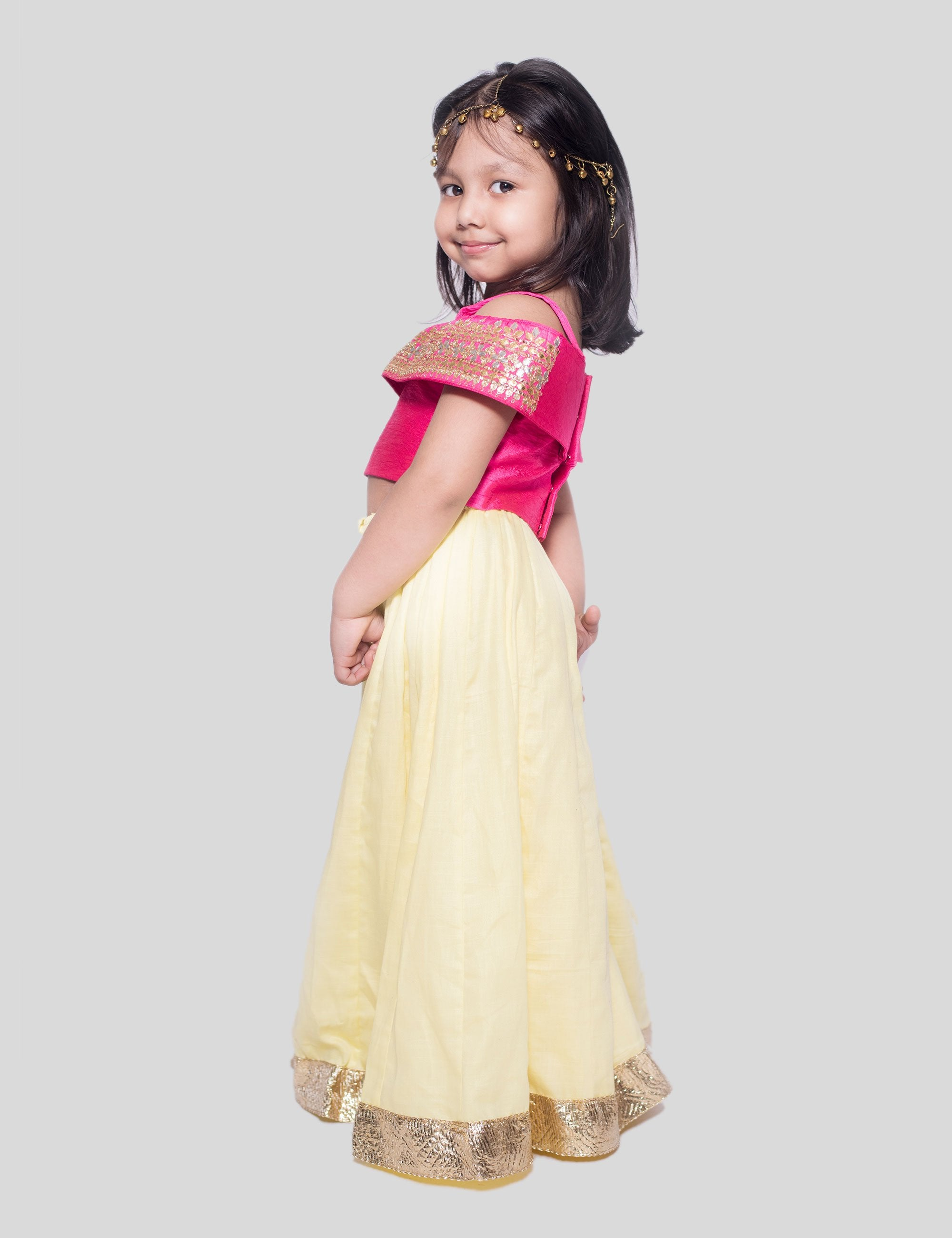 Gota Ghagra In Pink for Girls