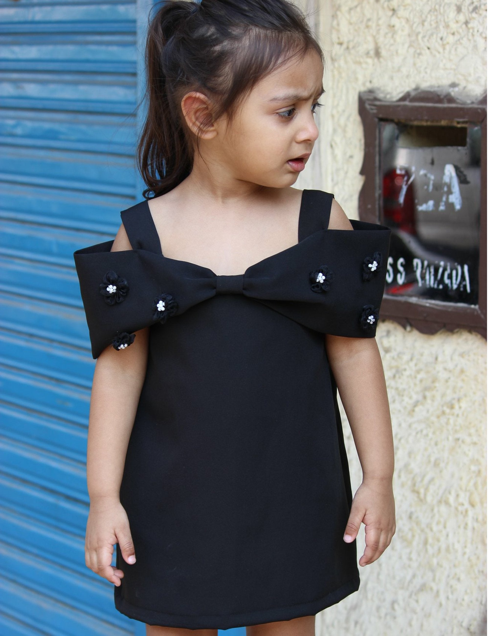 Black Bow Shoulder Dress