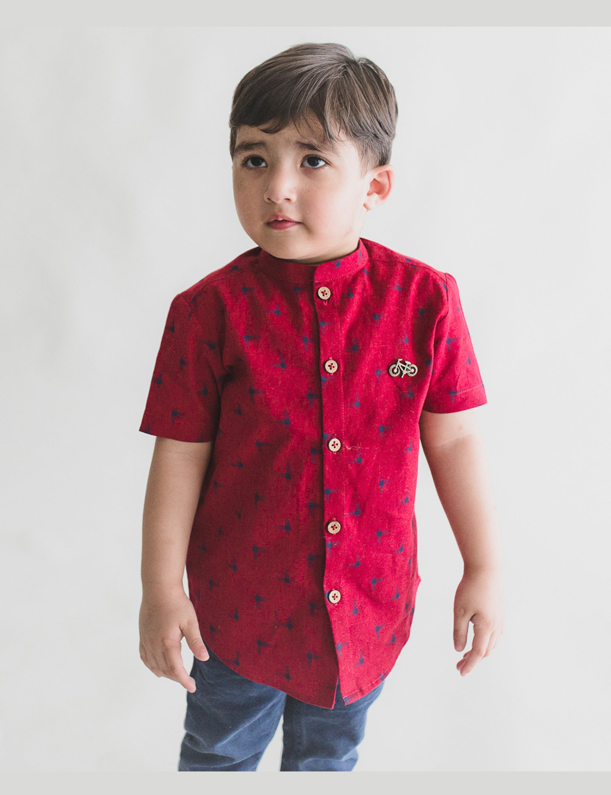 Red Ikat Print  Shirt