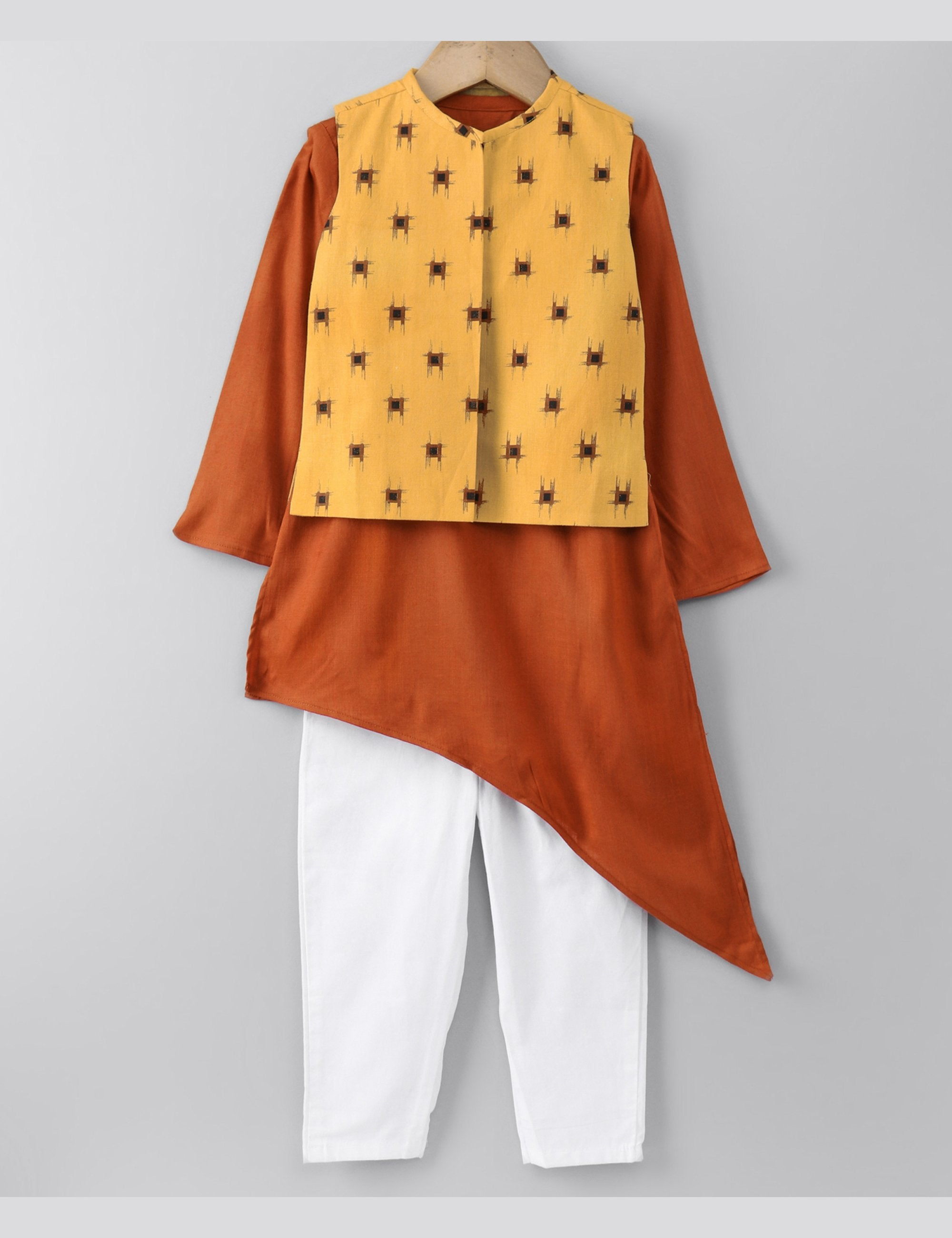 Rust Stylish Kurta with Open Waistcoat and Pants