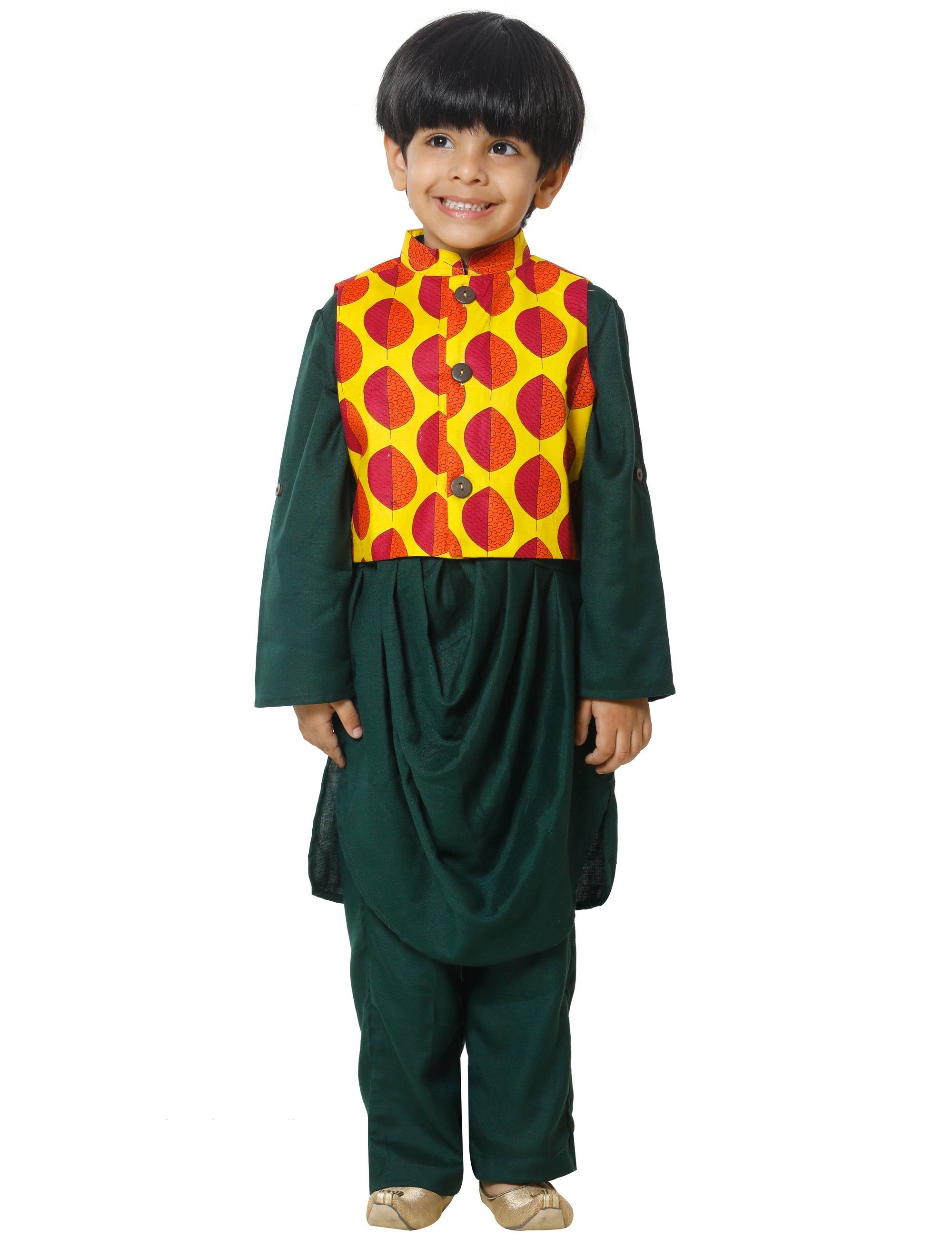 Yellow Jacket with Green Drape Kurta Pyjama Set