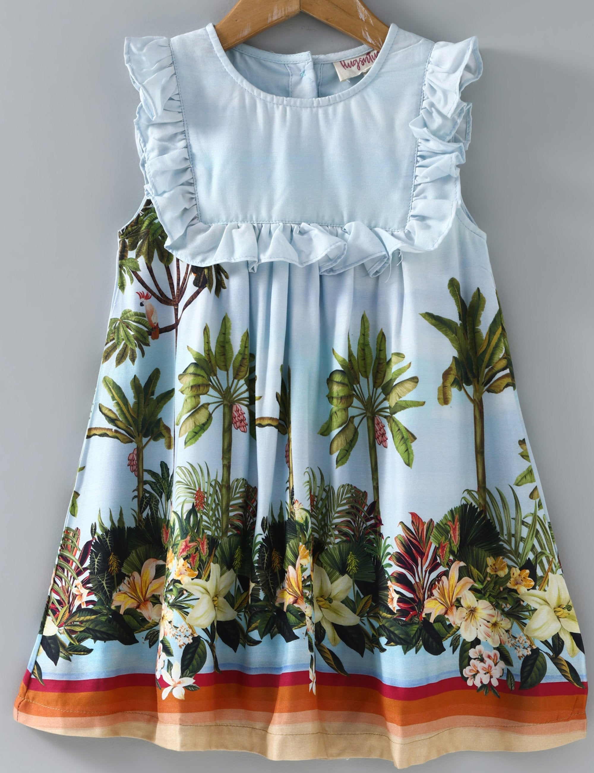 Sleeveless Beach Print Ruffled Dress - Blue