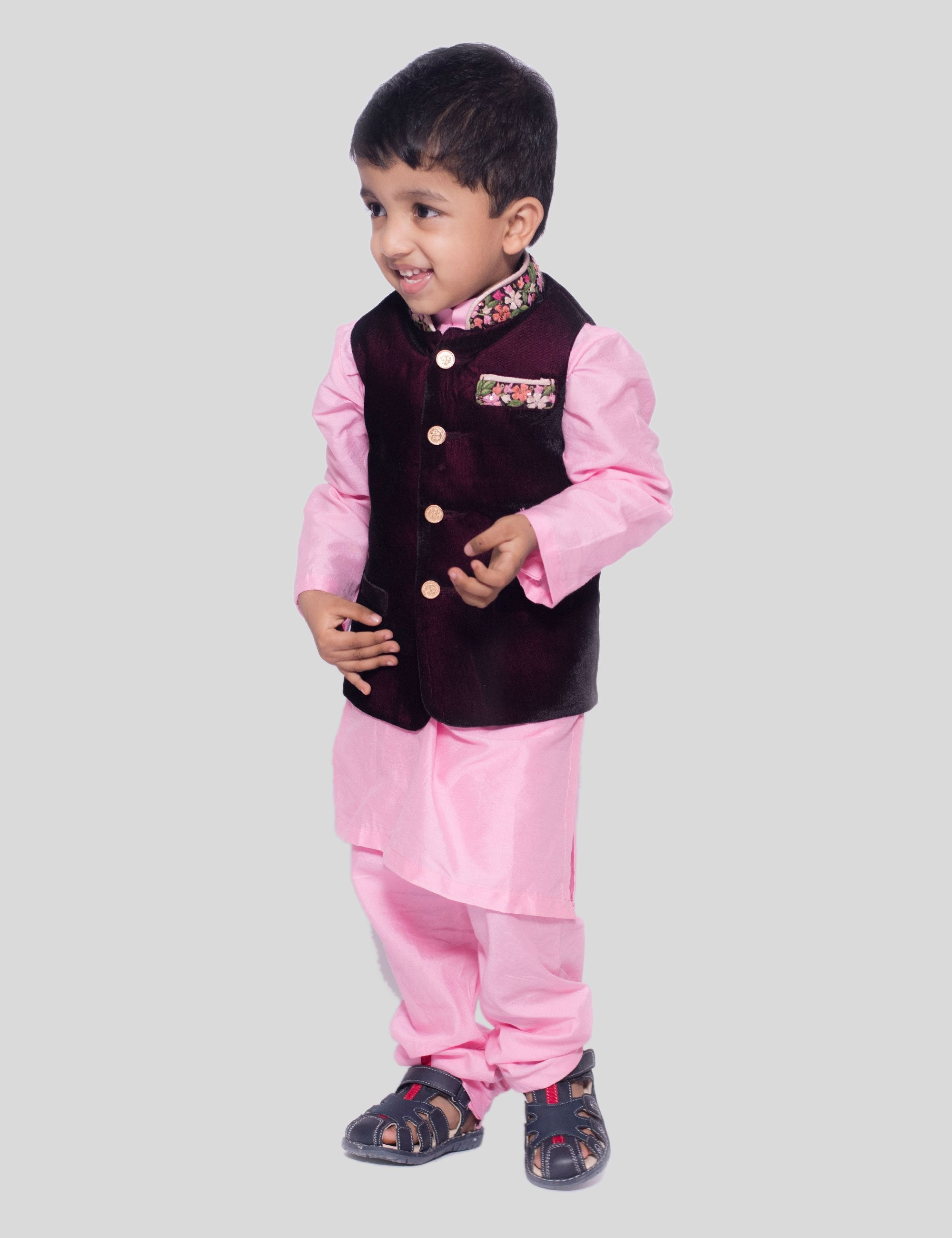 Embroidered Velvet Nehru Jacket with Churidaar In Pink for Boys