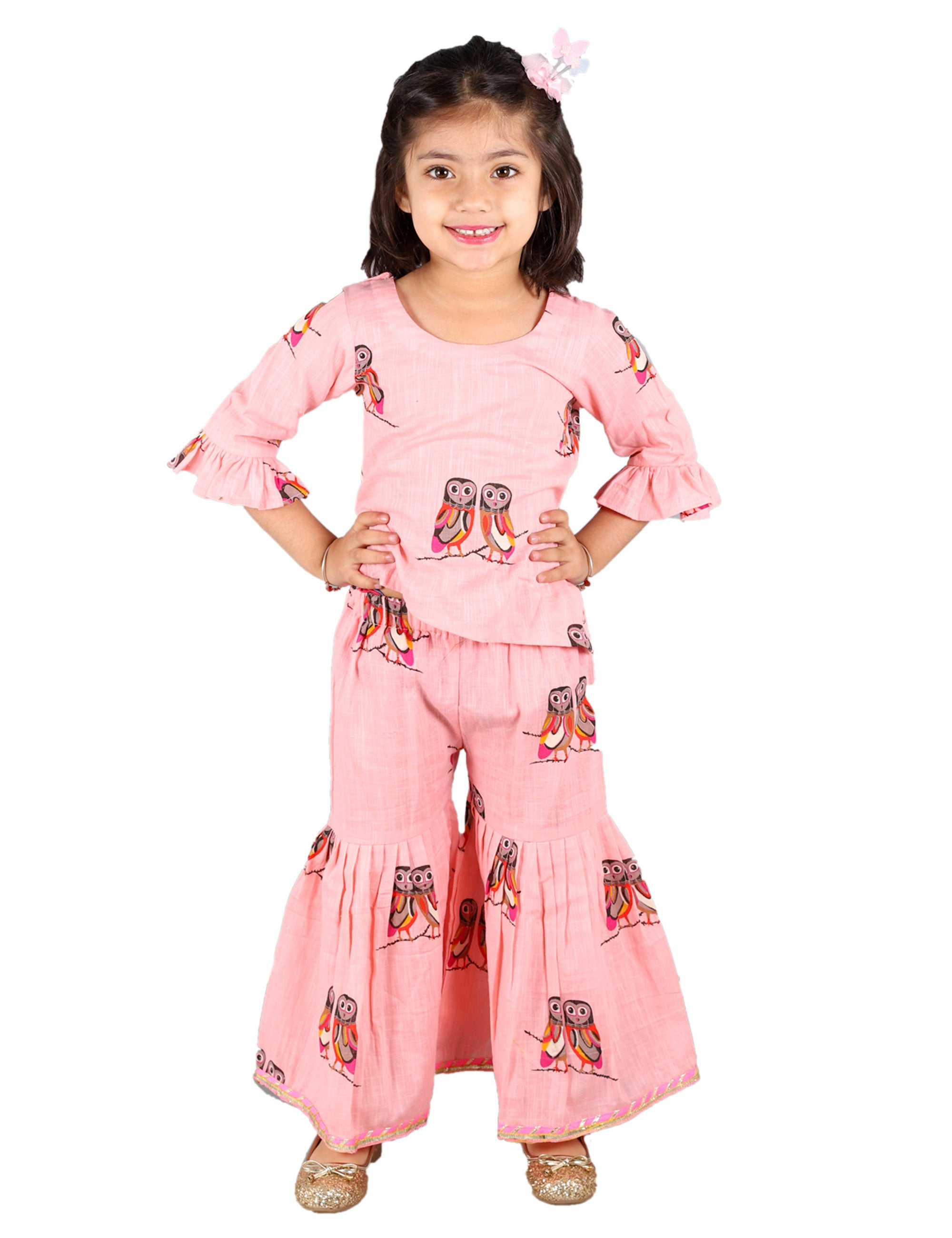 Owl Print Sharara Set