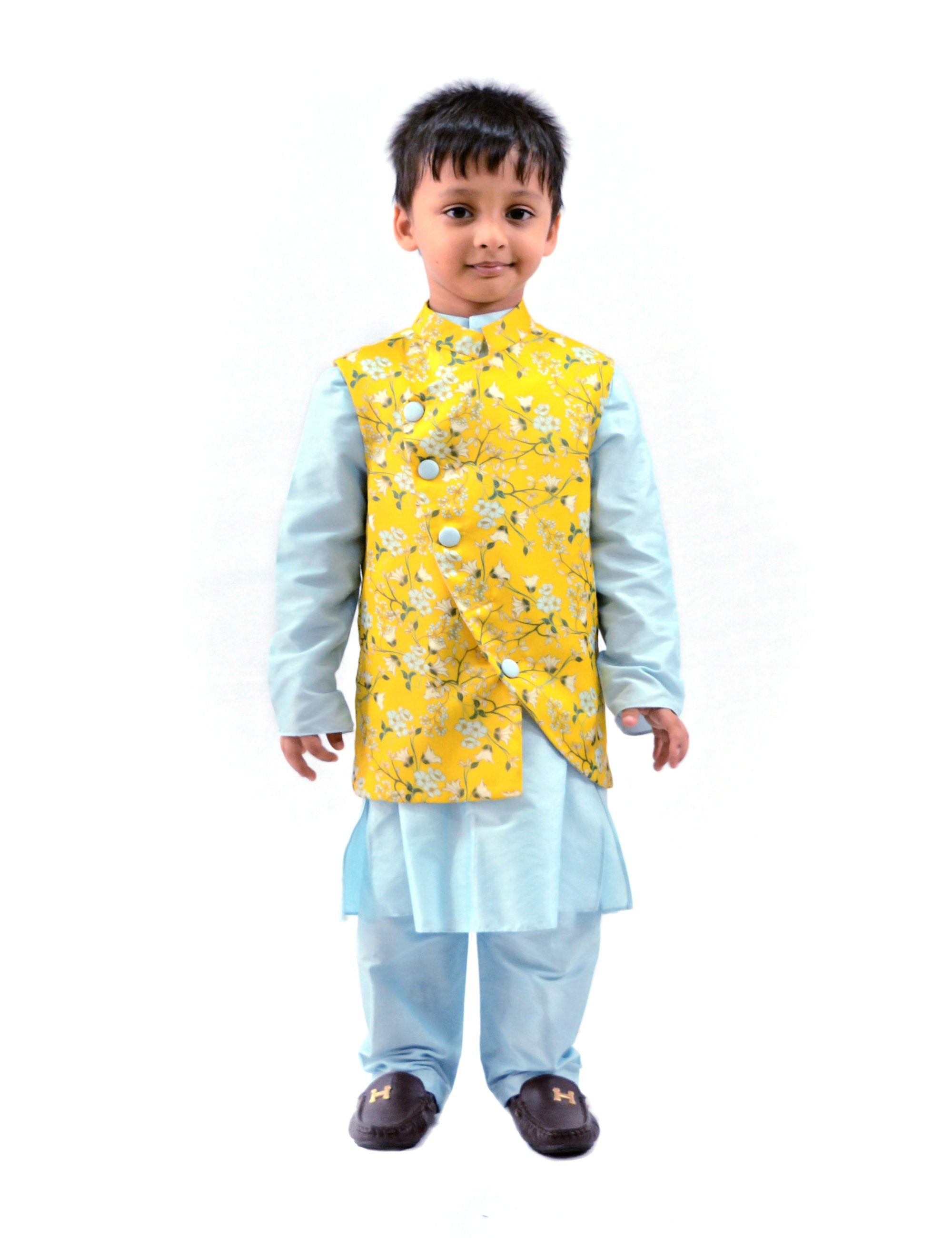 Yellow Printed Bandi with Blue Kurta set