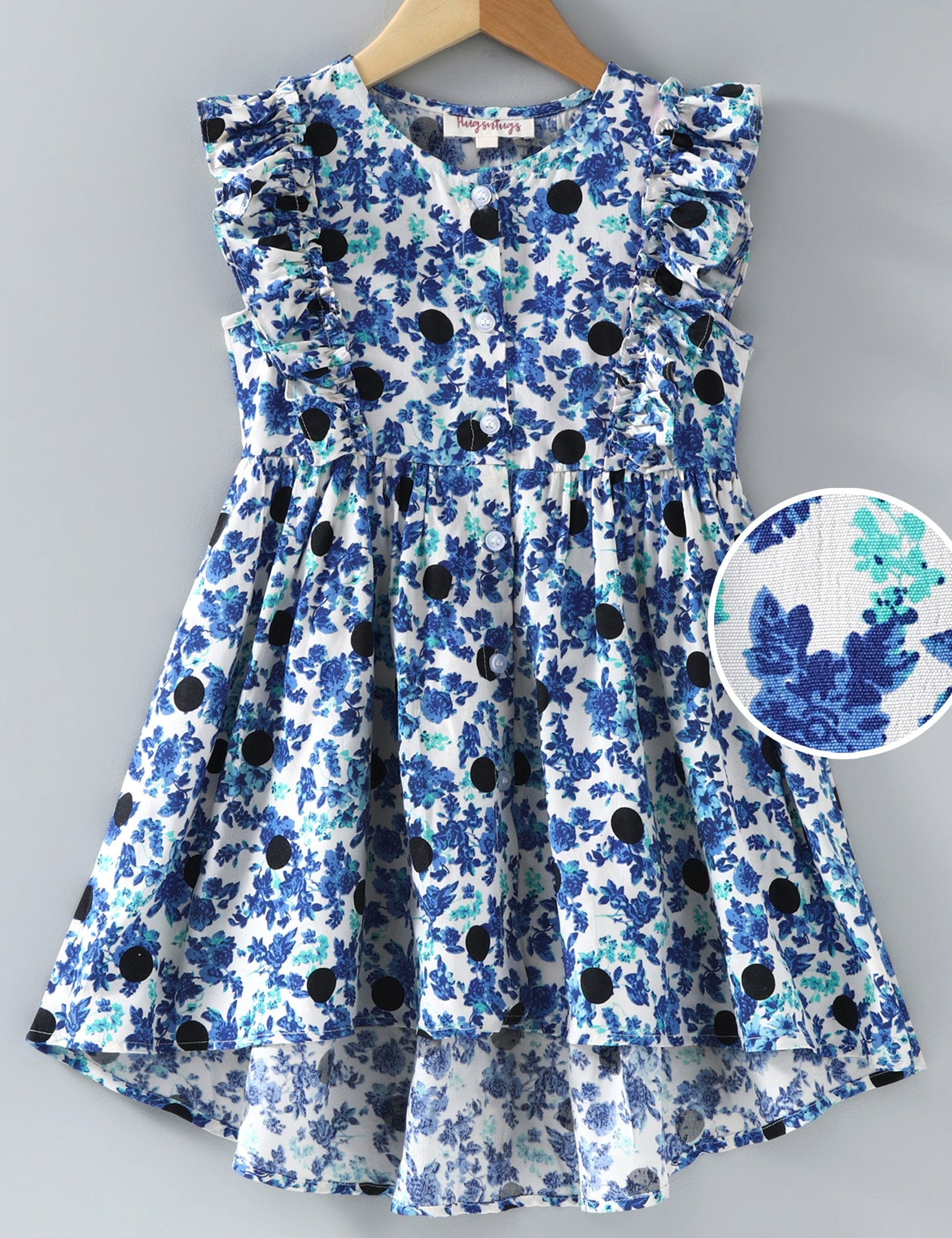 Sleeveless Front Buttoned Floral Print Dress - Blue