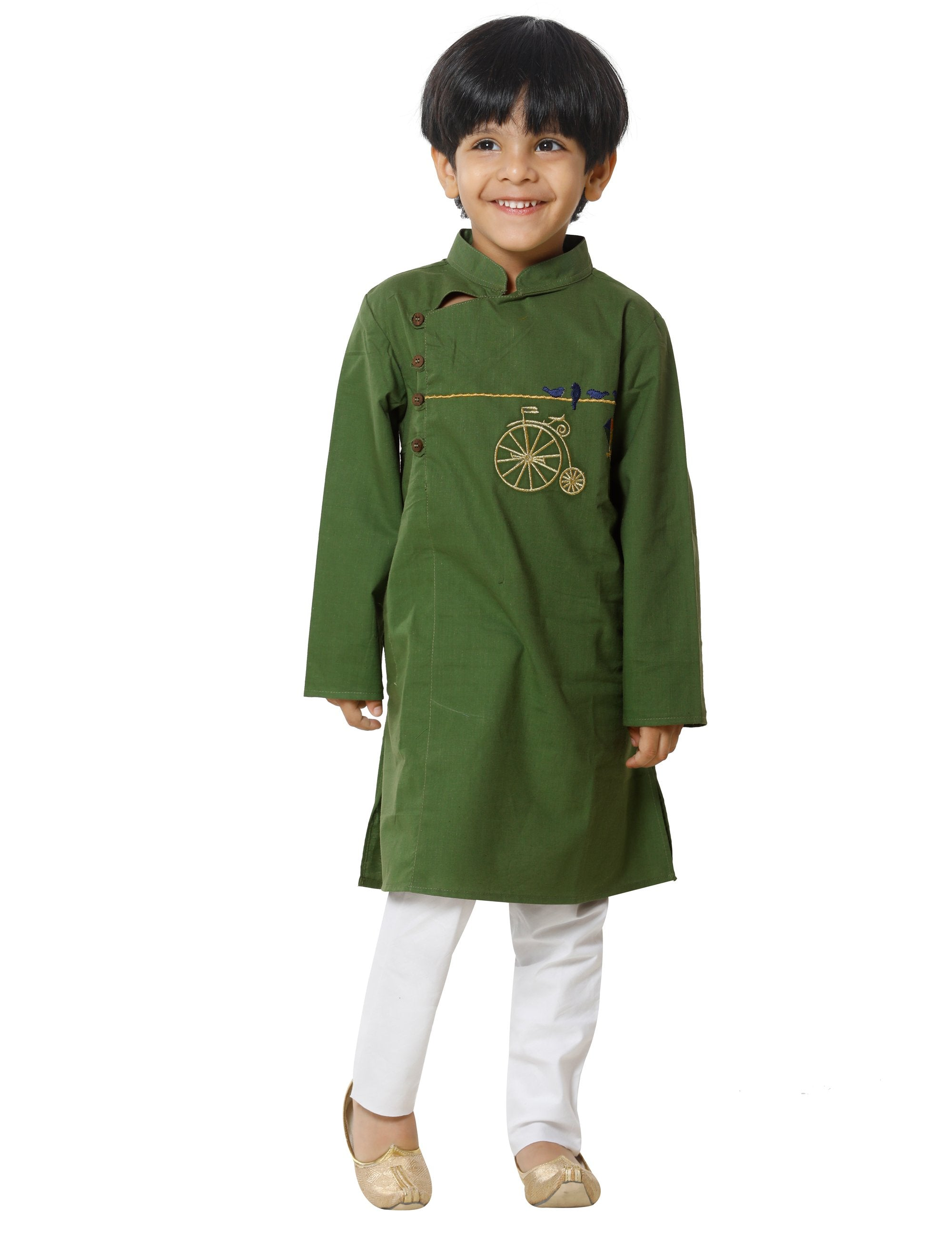 Green Embroidered Kurta Pyjama Set