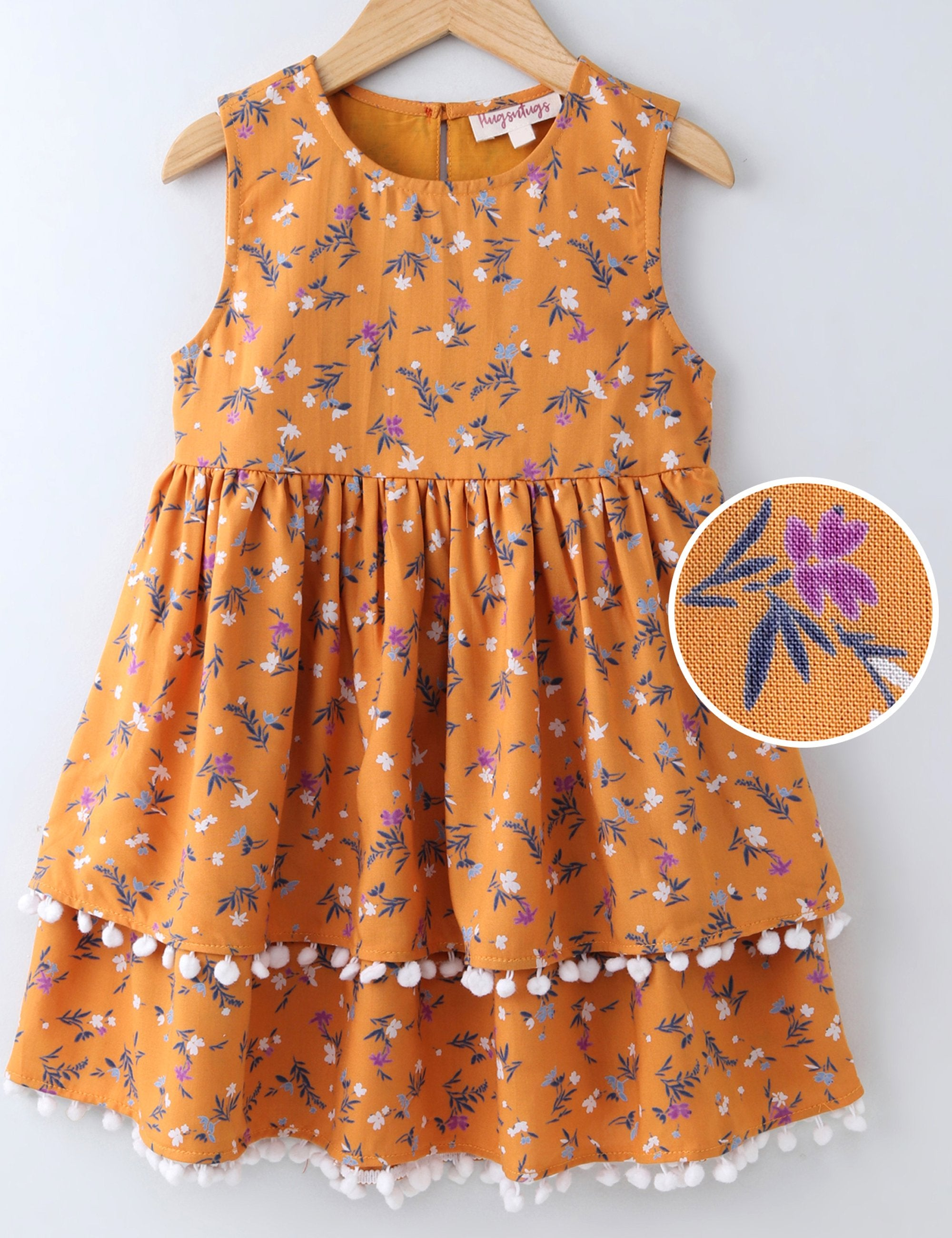 Sleeveless Floral Print Pom Pom  Dress - Orange