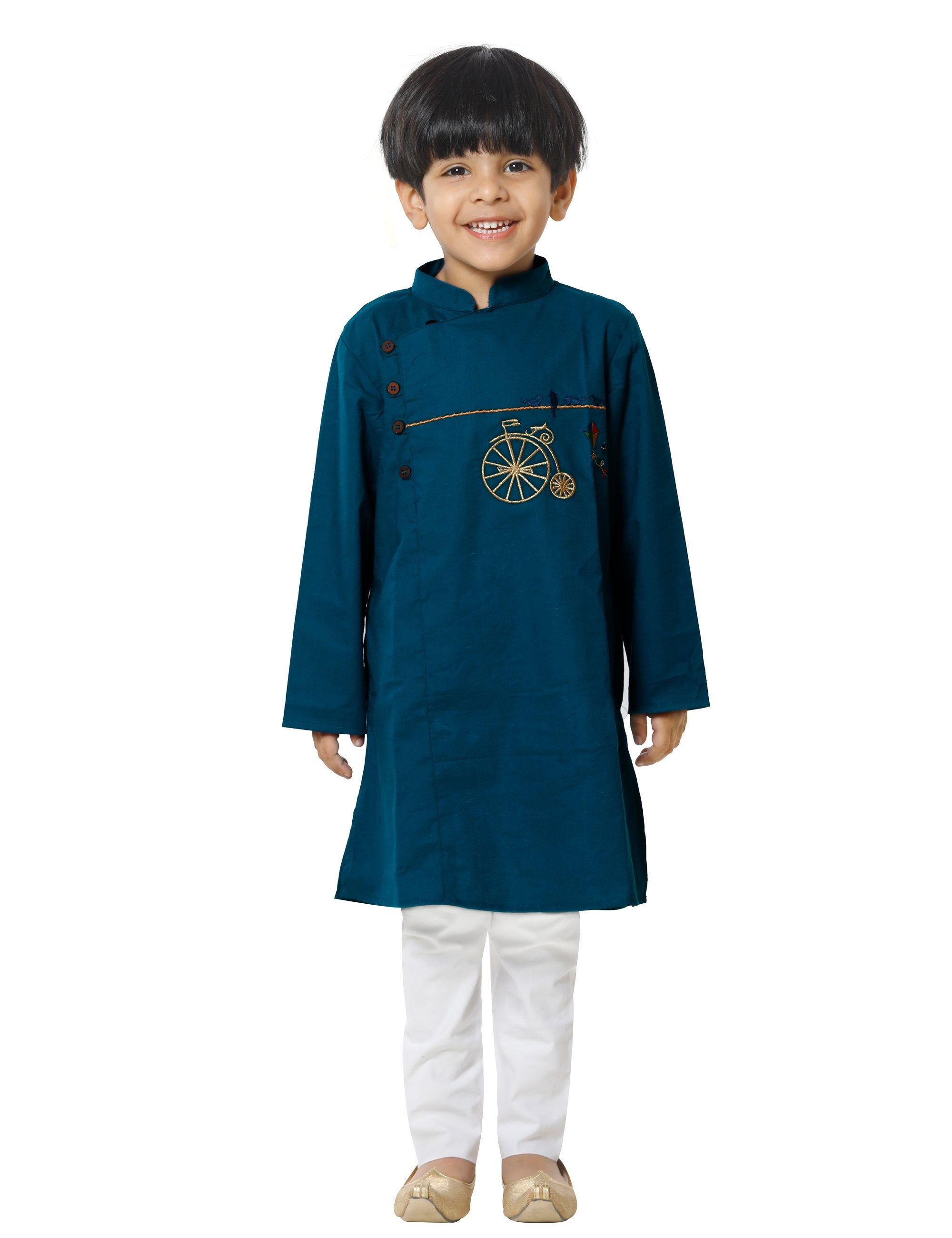 Blue Embroidered Kurta Pyjama Set