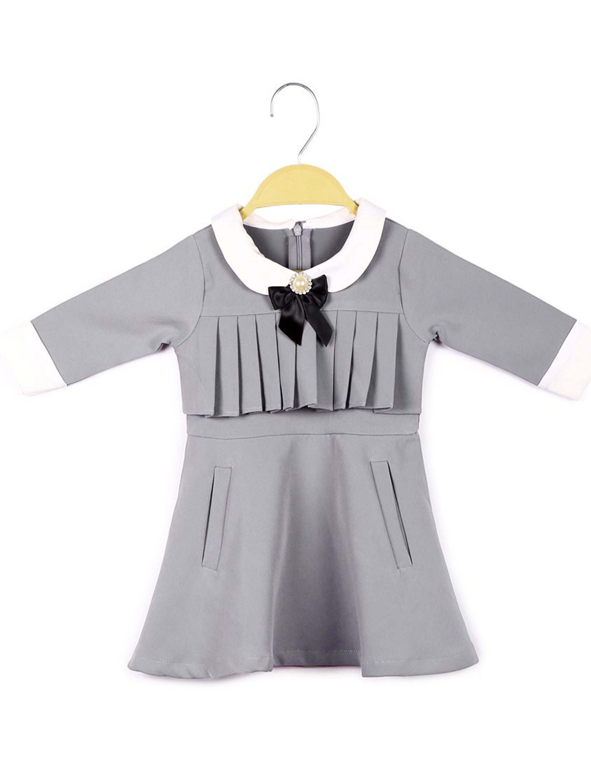 Grey Pleated Bow Dress