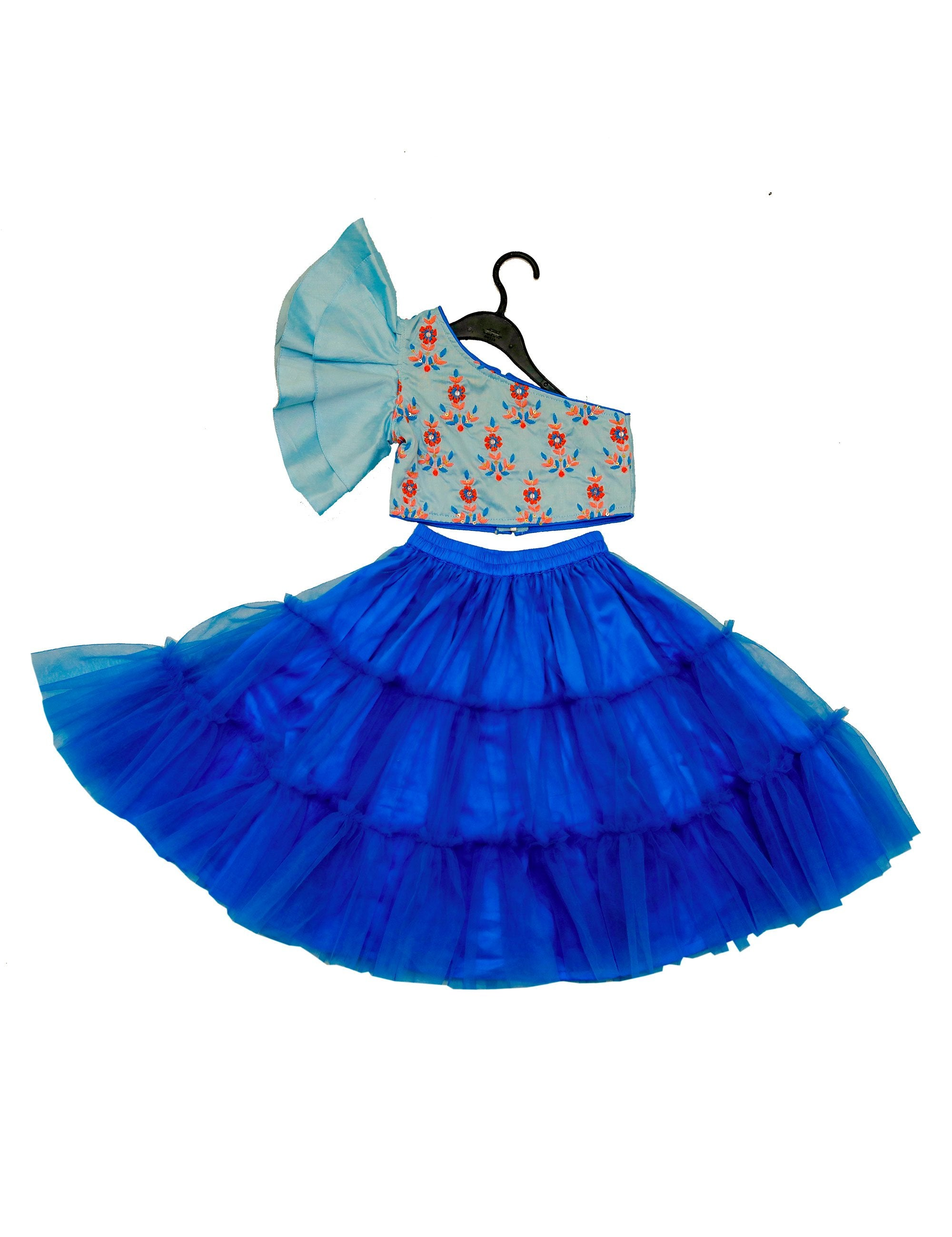 Blue Embroidered One Side Off Shoulder Top with Flayer Skirt