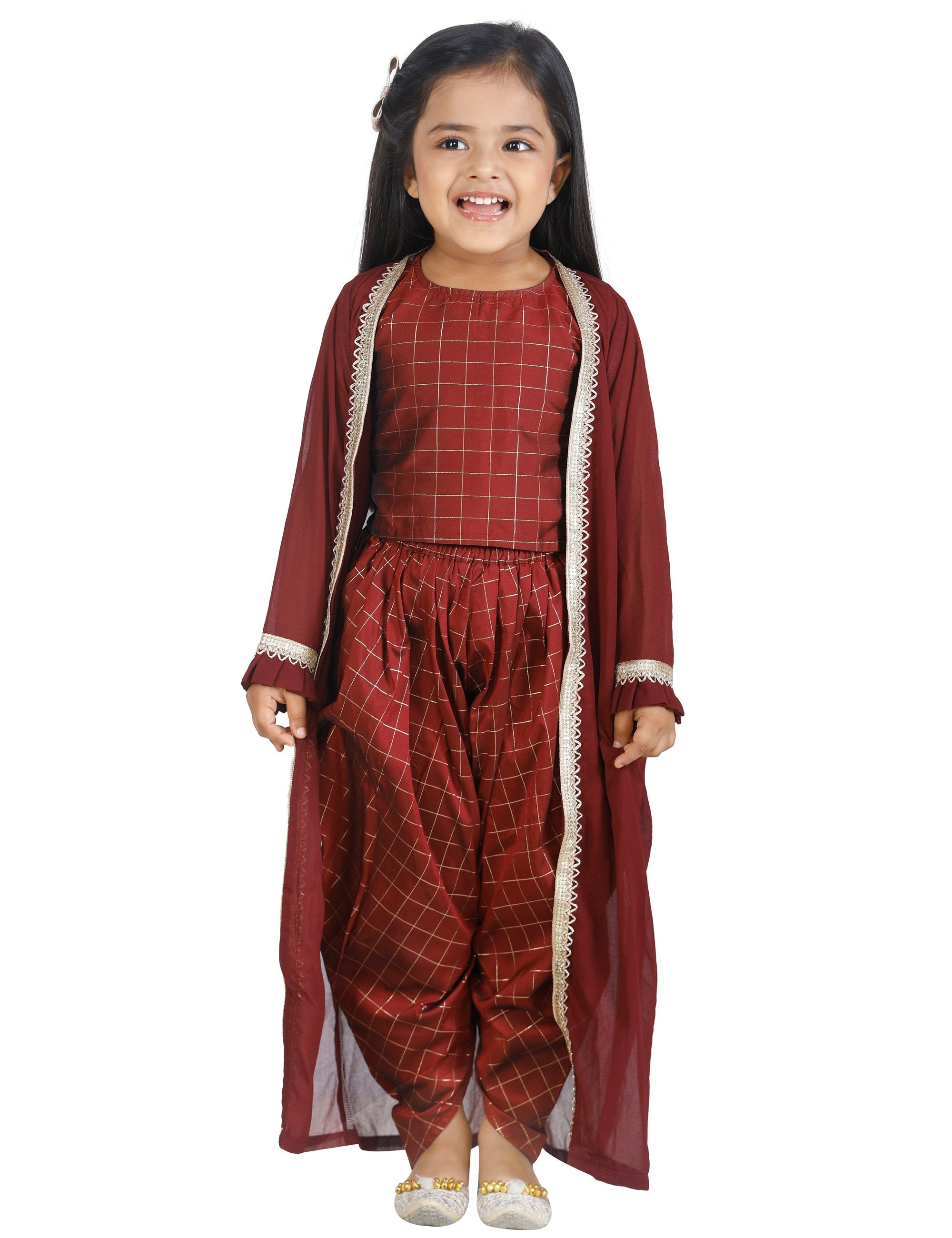 Check Brown Top Dhoti with Jacket