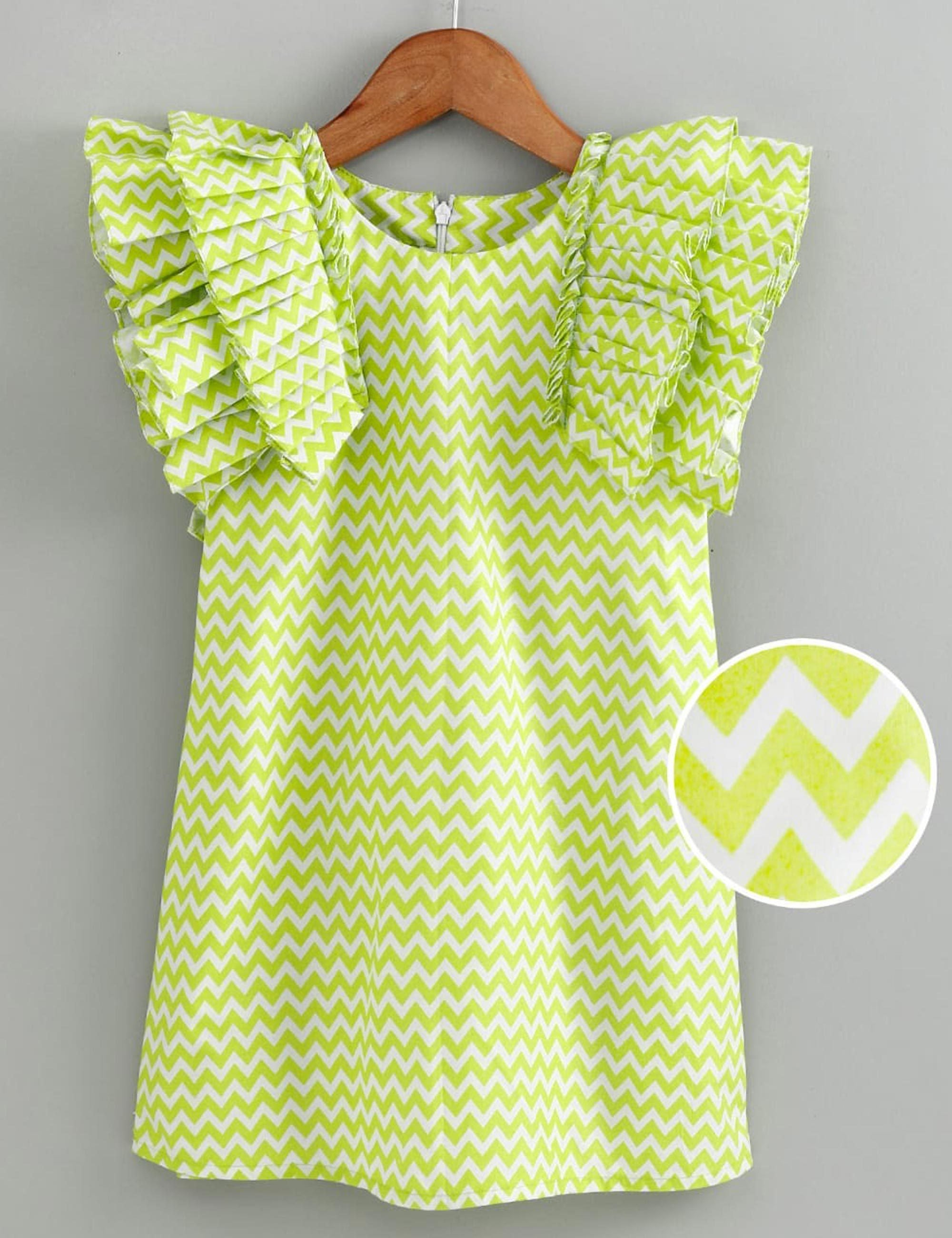 Green Chevron Dress with Ruffles