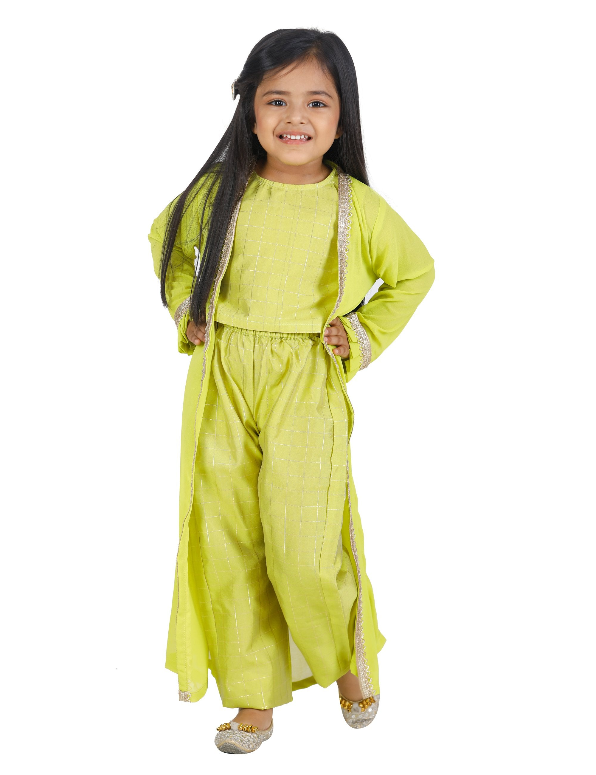 Check Lime Green Choli Palazzo Jacket Set