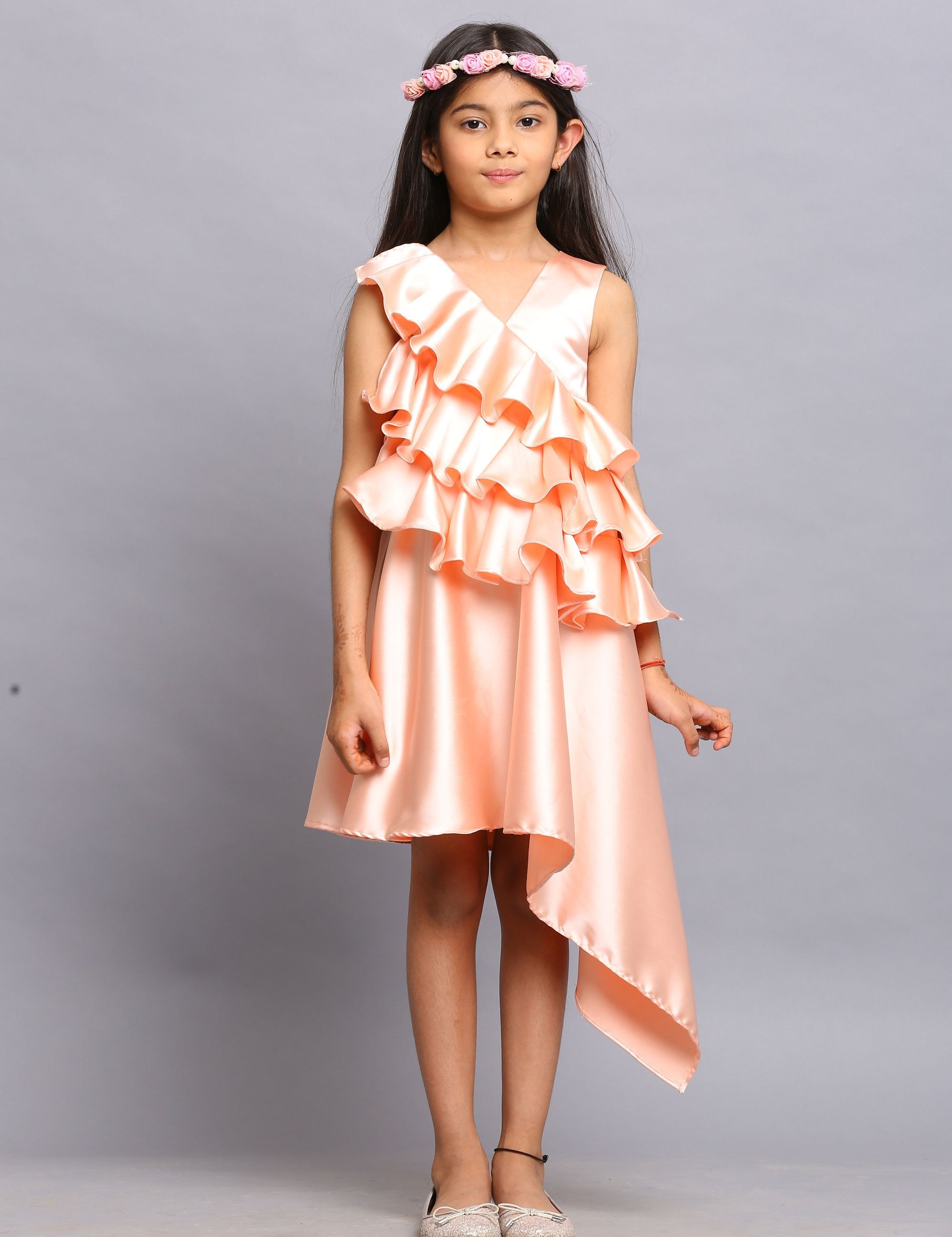 Satin High Low dress with Ruffles