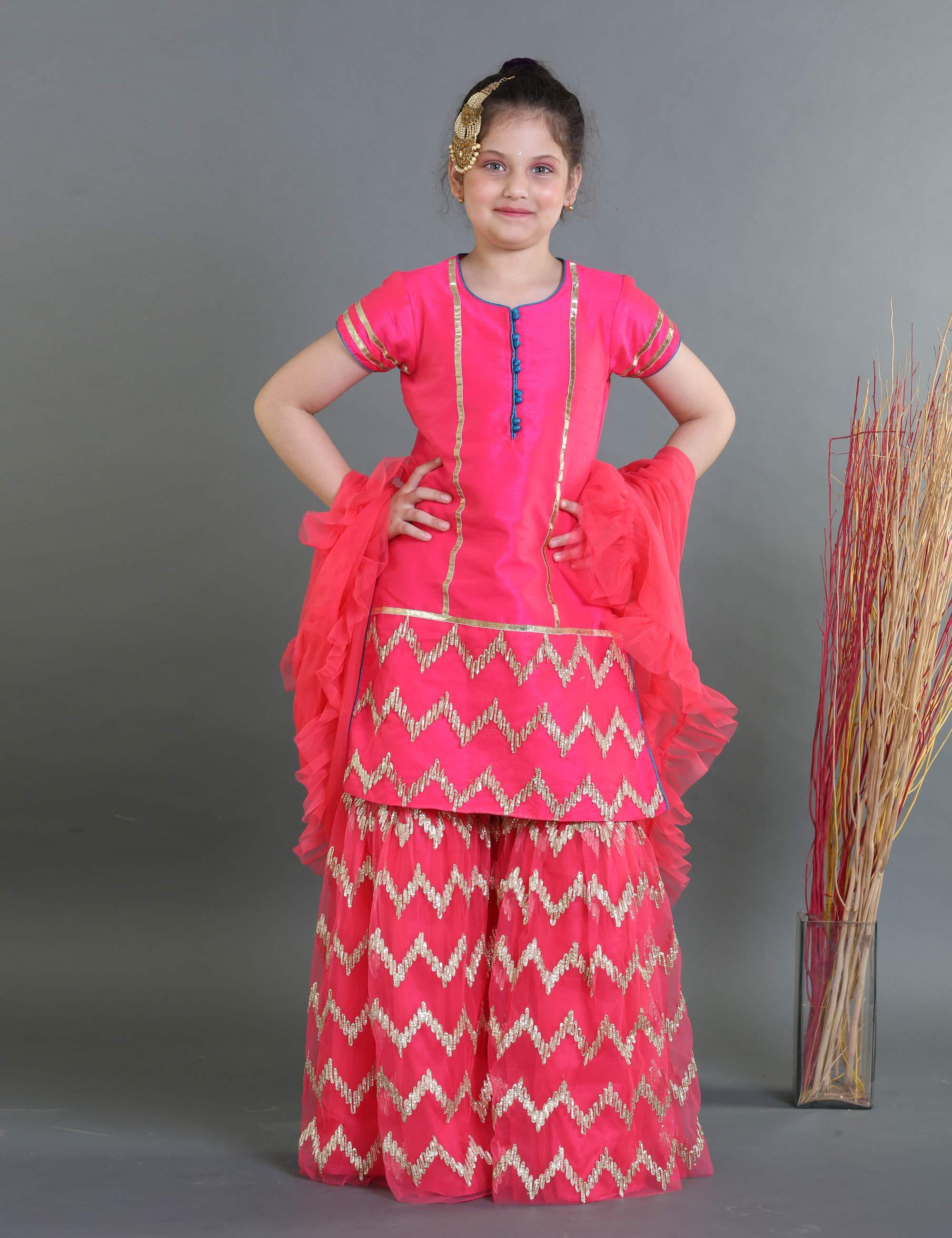 Heavy Embroidered Sharara Kurta with Frilly Duppatta