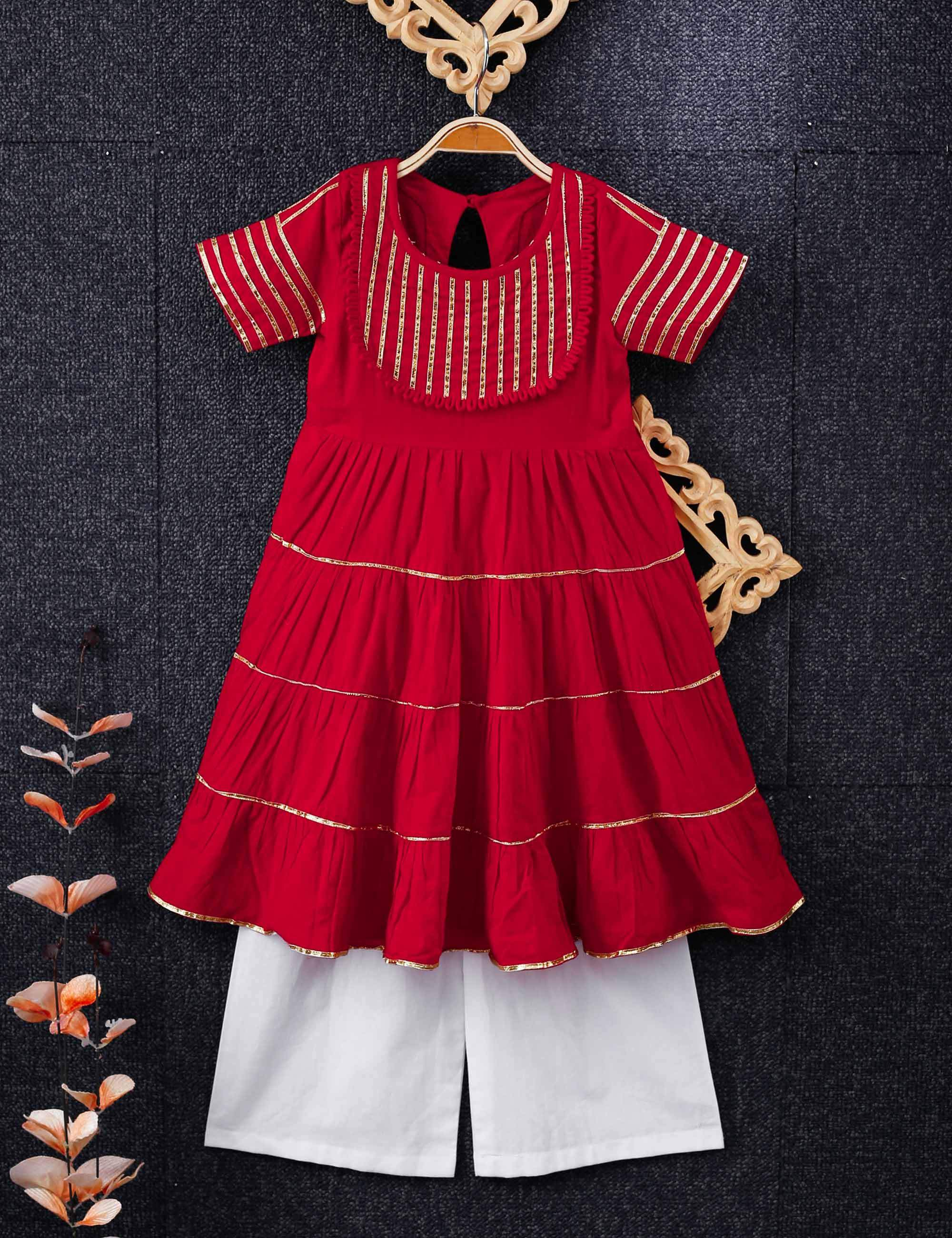 Red Cotton Gota Tier Kurta With White Pants for Girls