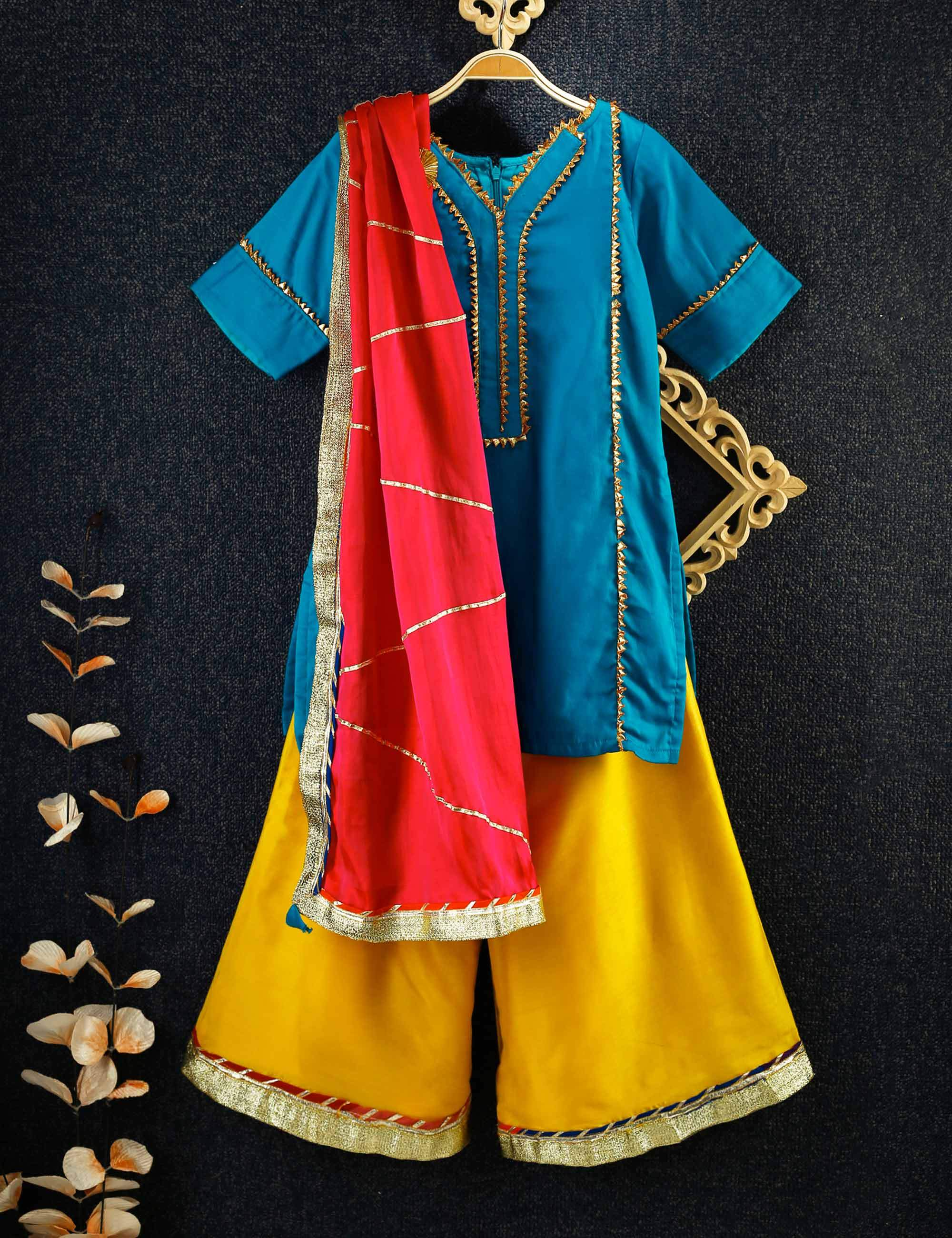Blue Kurta With Yellow Pallazo with Gota Jaal Dupatta. For Girls