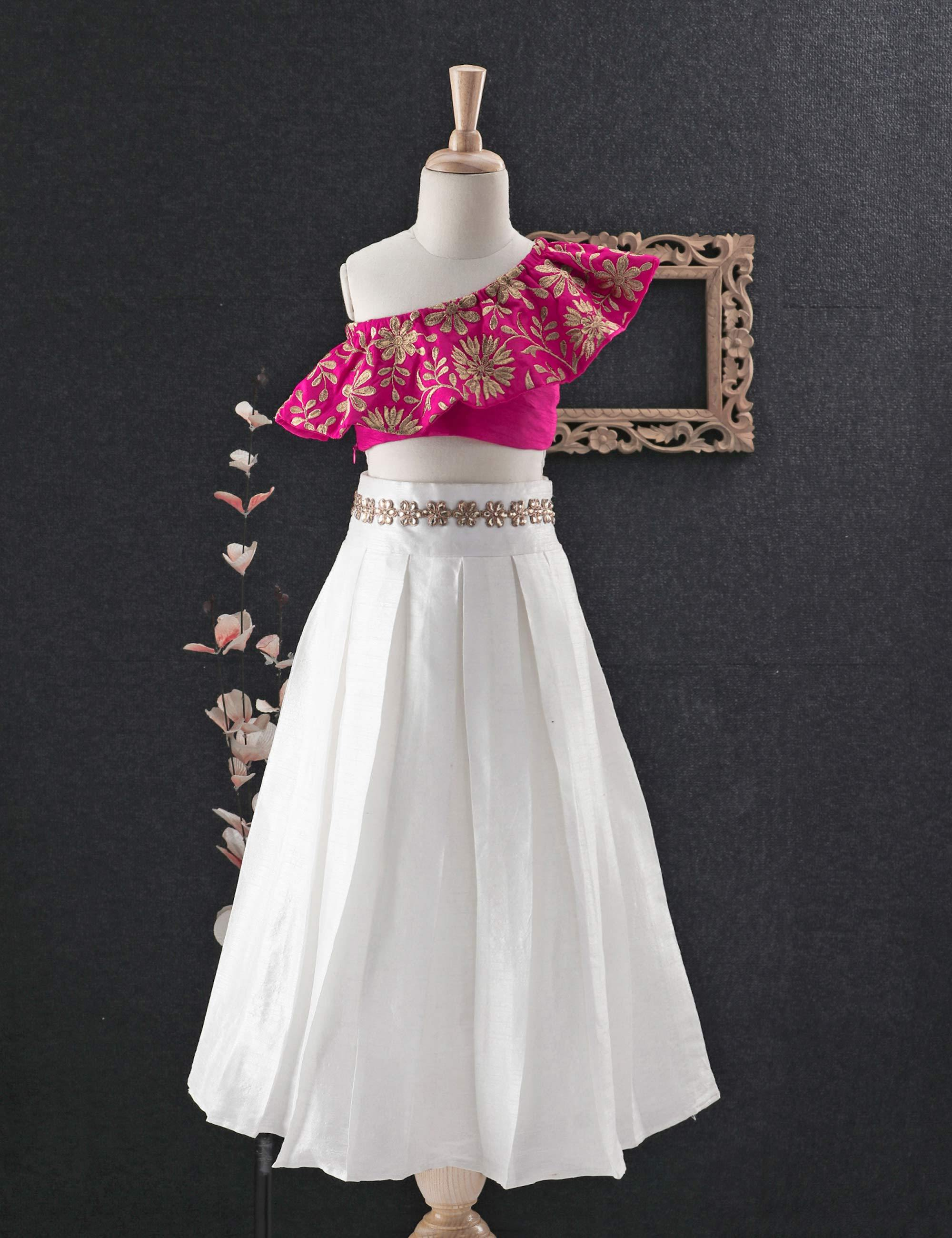 One shoulder Embroidered Crop top with Skirt for Girls