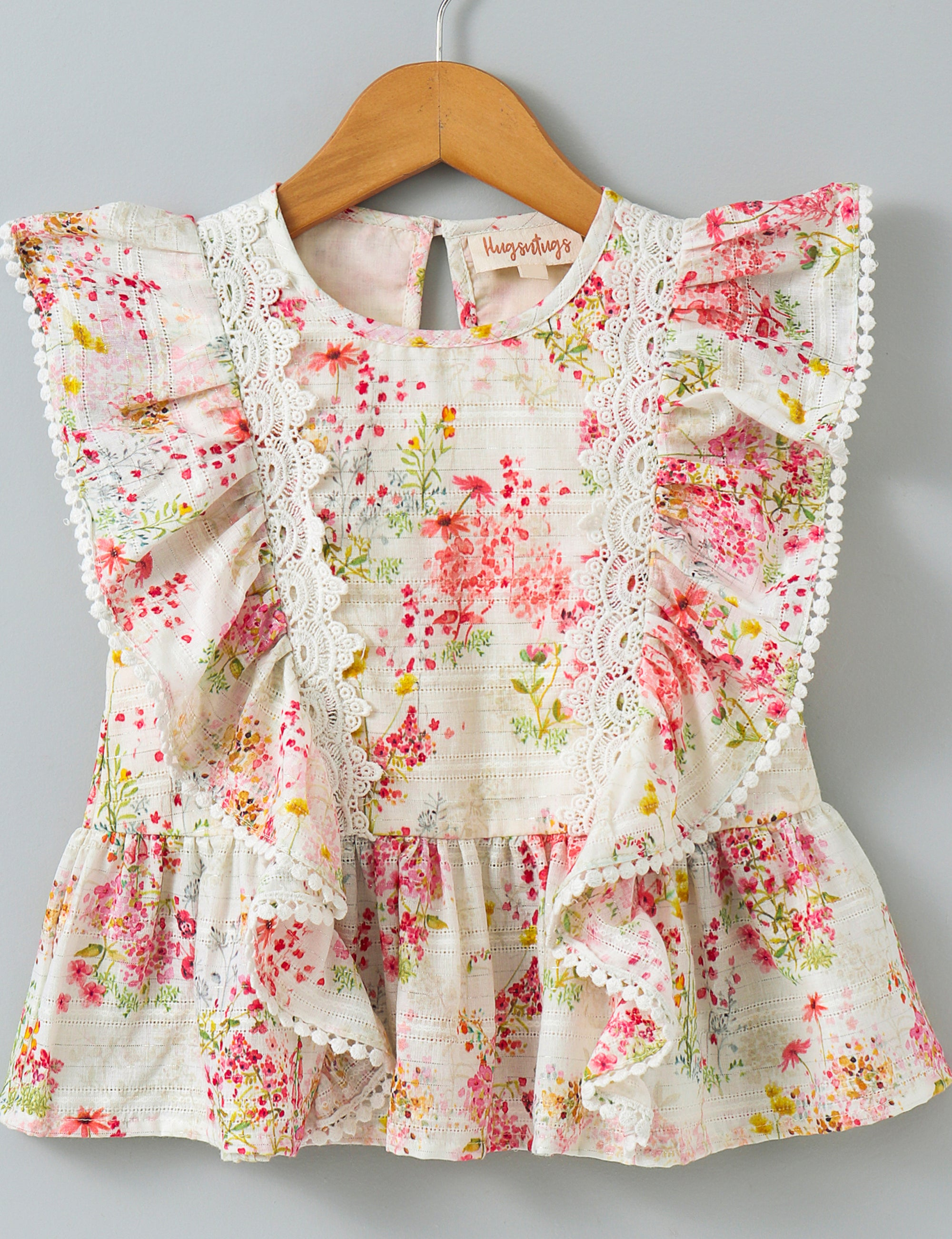 Floral Print Short Sleeves Top - Pink