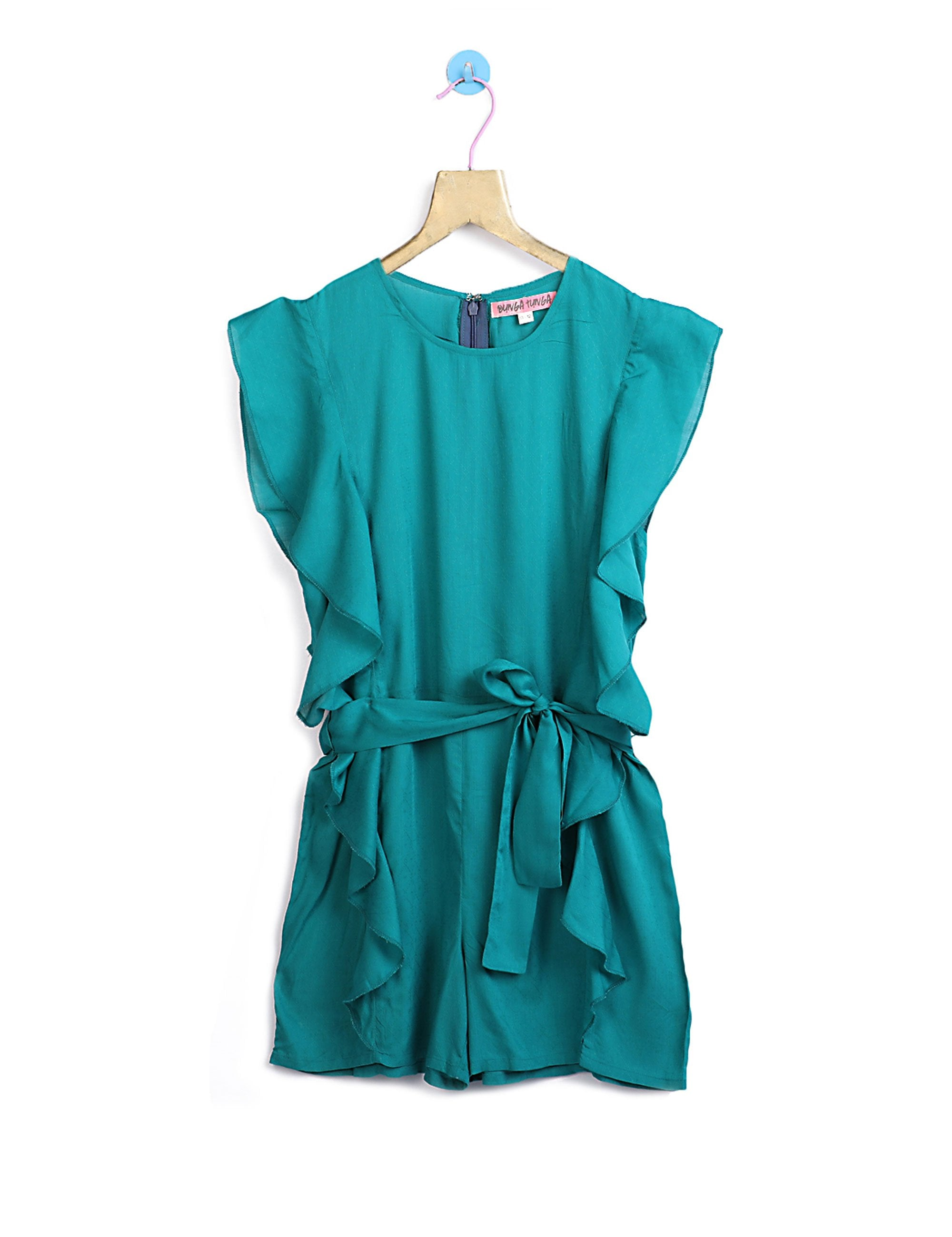 Bluish Green Jumpsuit with Belt for Girls