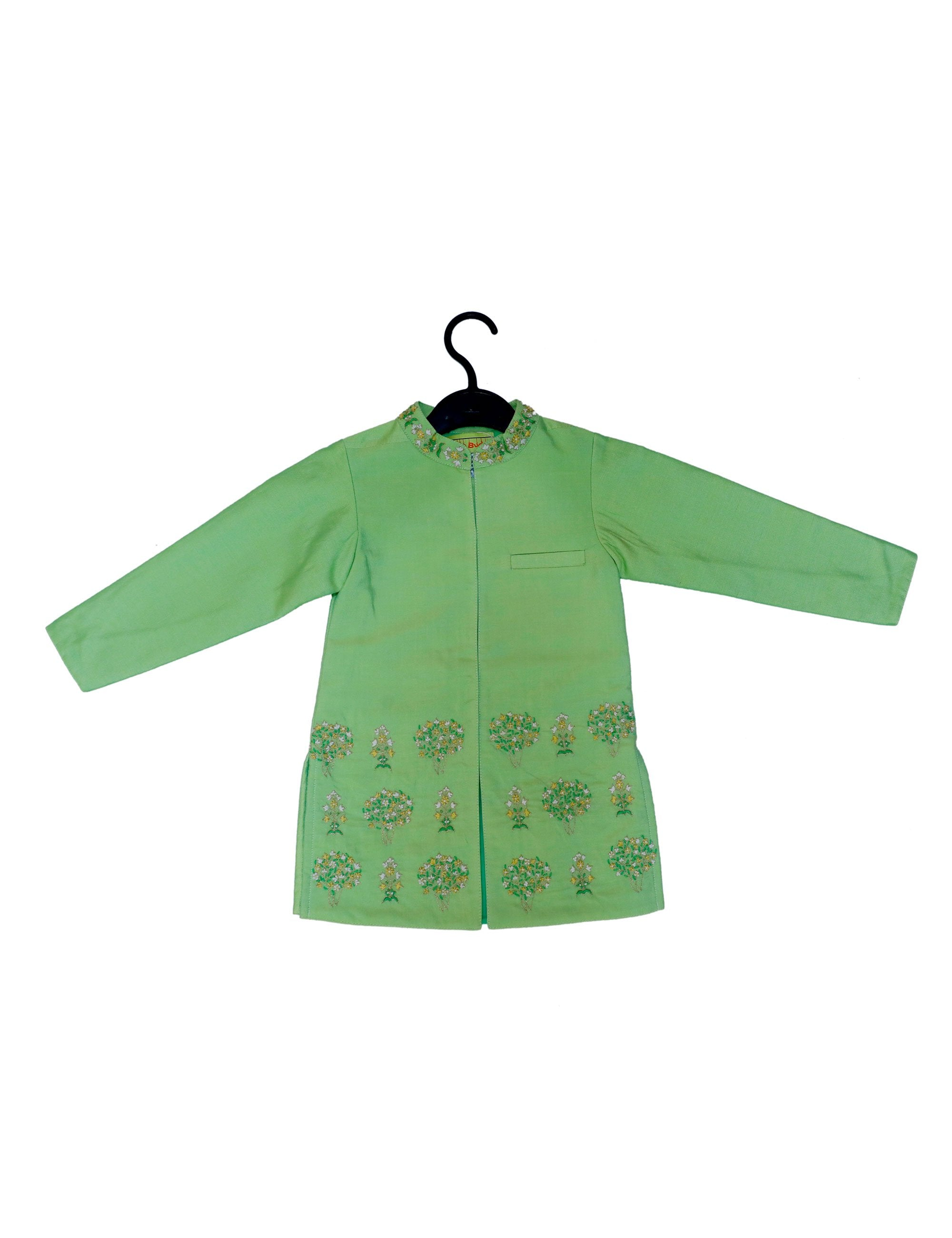 Green Full Sleeves Emroidered Kurta