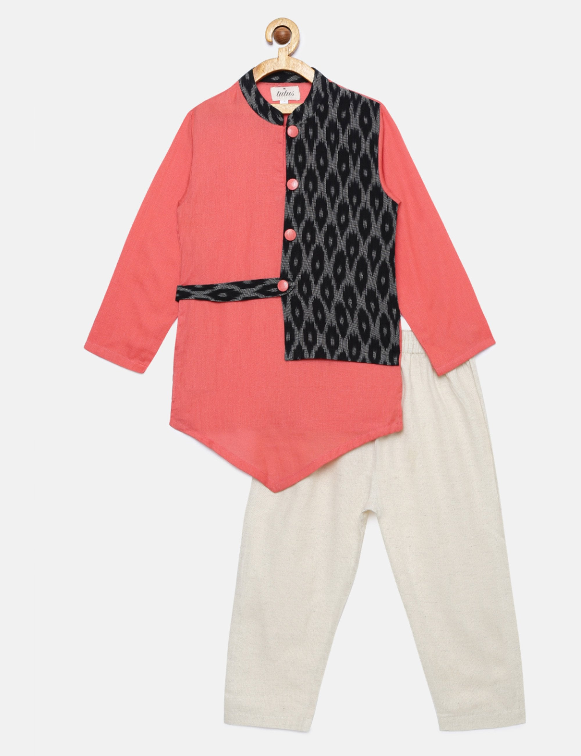Kurta with Attached Half Ikat Jacket and Pyajama