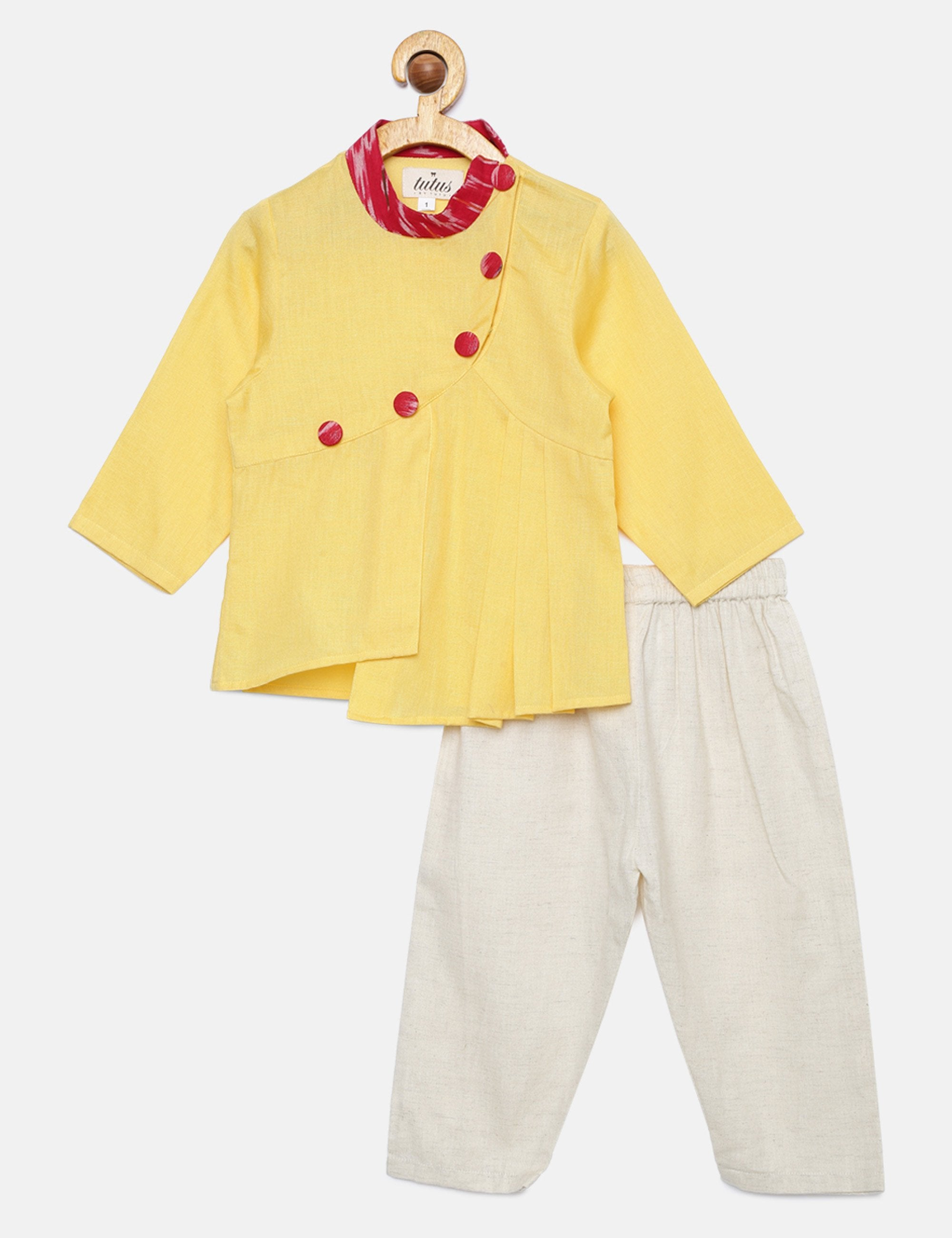 Yellow Asymmetrical Kurta Pyjama Set