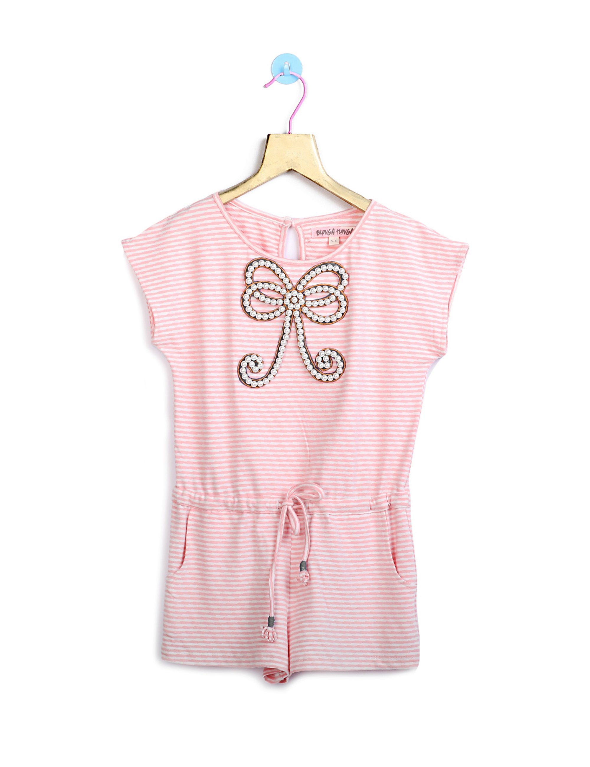 bcf1971207 Buy Pink Stripes Jumpsuit with Bow for Girls at best Price - Mini Firgun