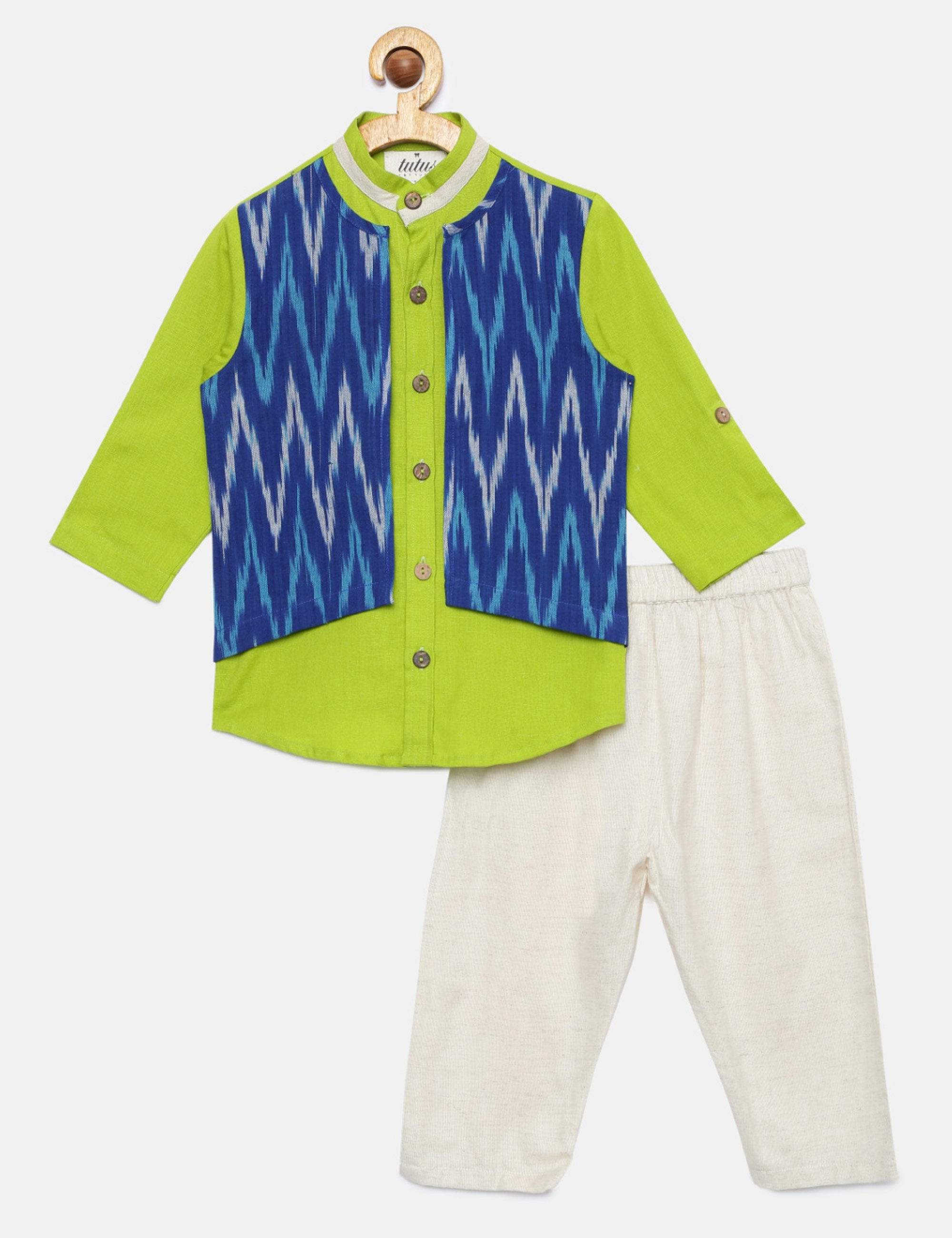 Short Kurta with attached Ikat Jacket and Pyajama
