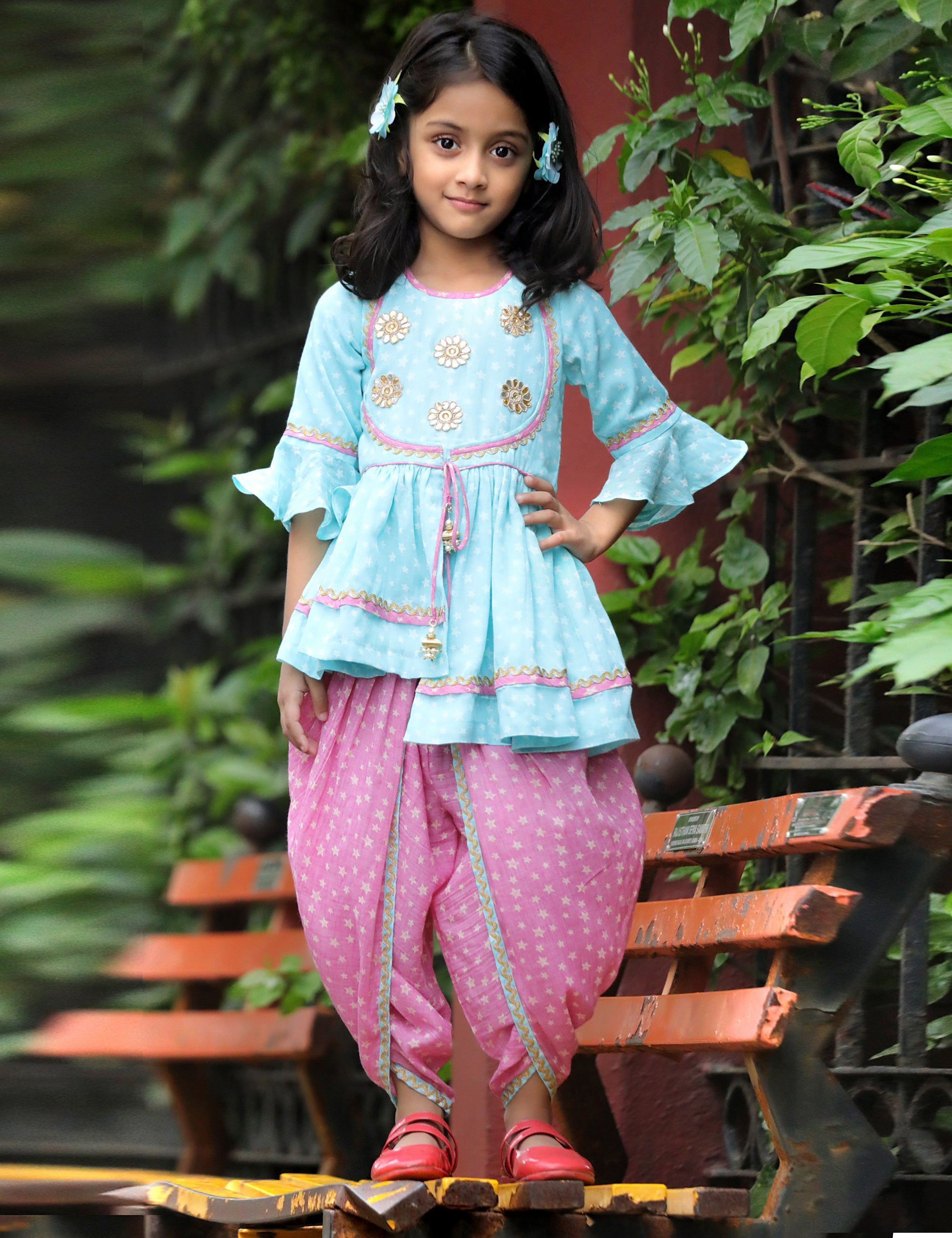 Splash Dhoti Set in Pink and Blue Colour