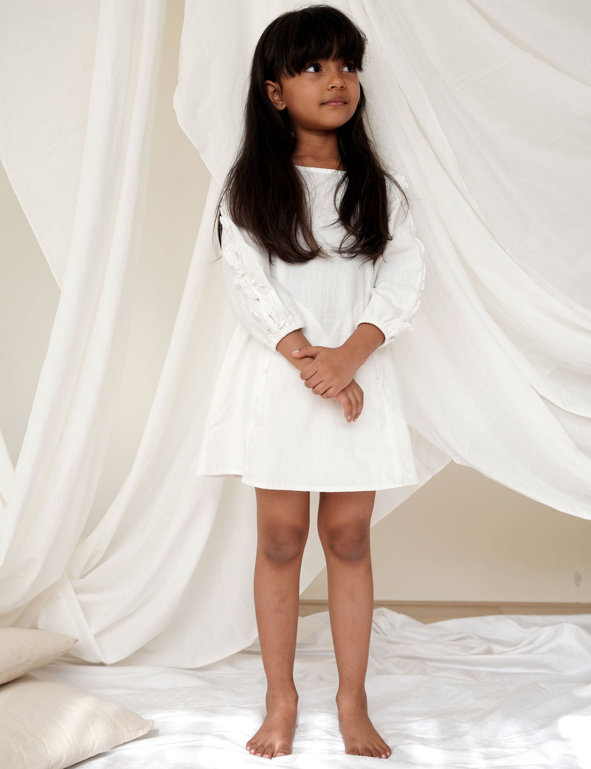 White Panelled Full Sleeve Dress with Frilly Sleeves
