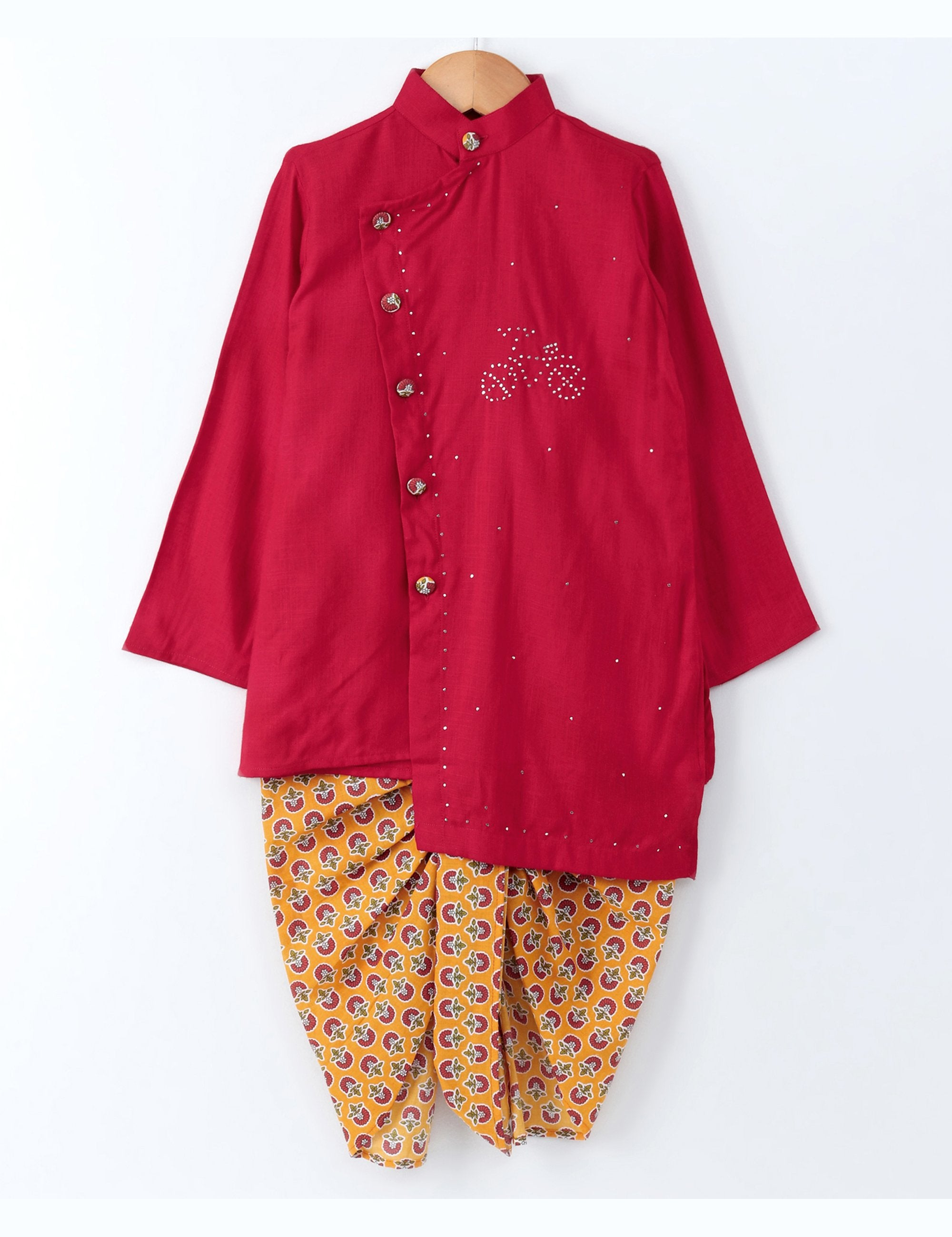 Red Kurta with Printed Floral Dhoti