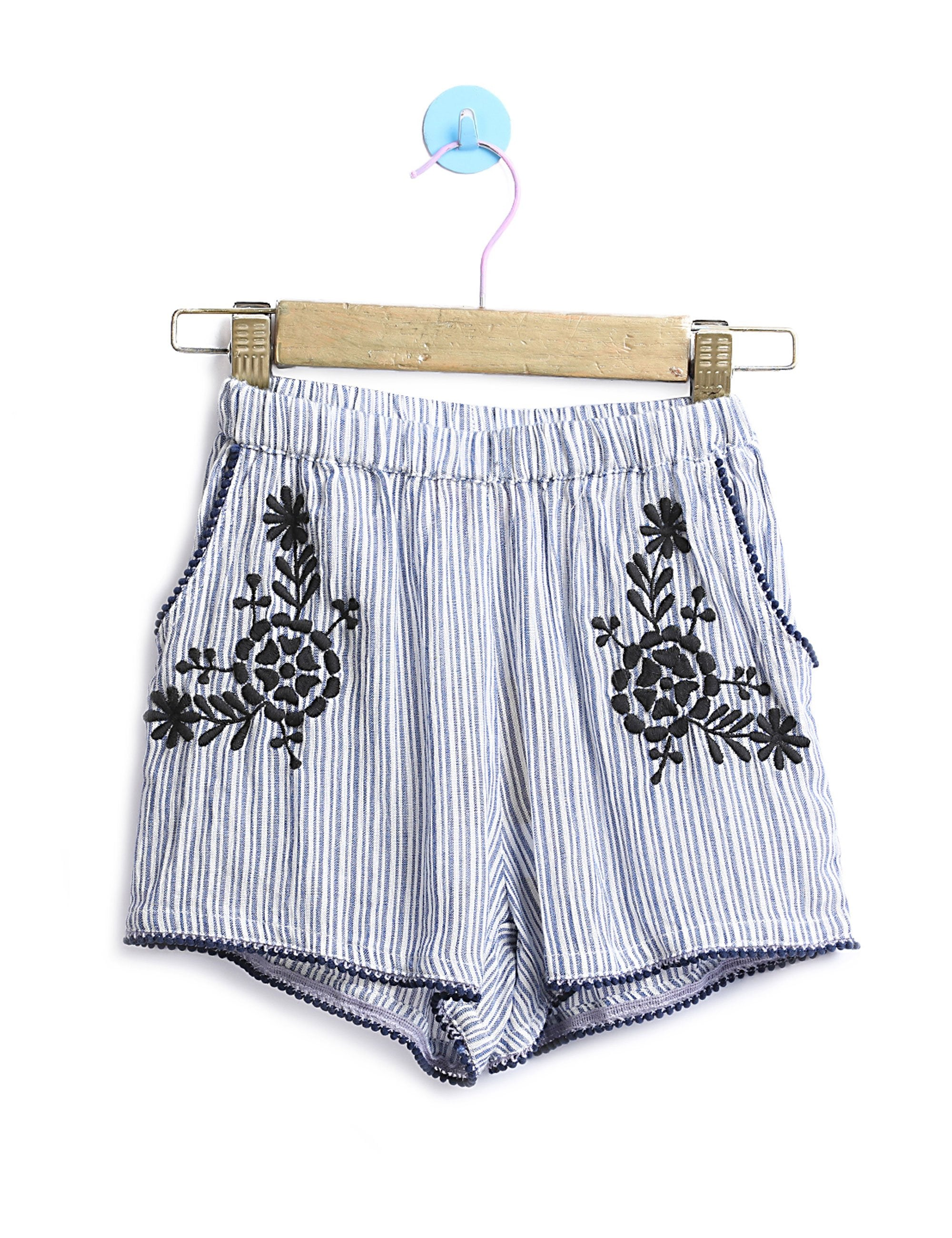 Stripe Shorts with Embroidery for Girls