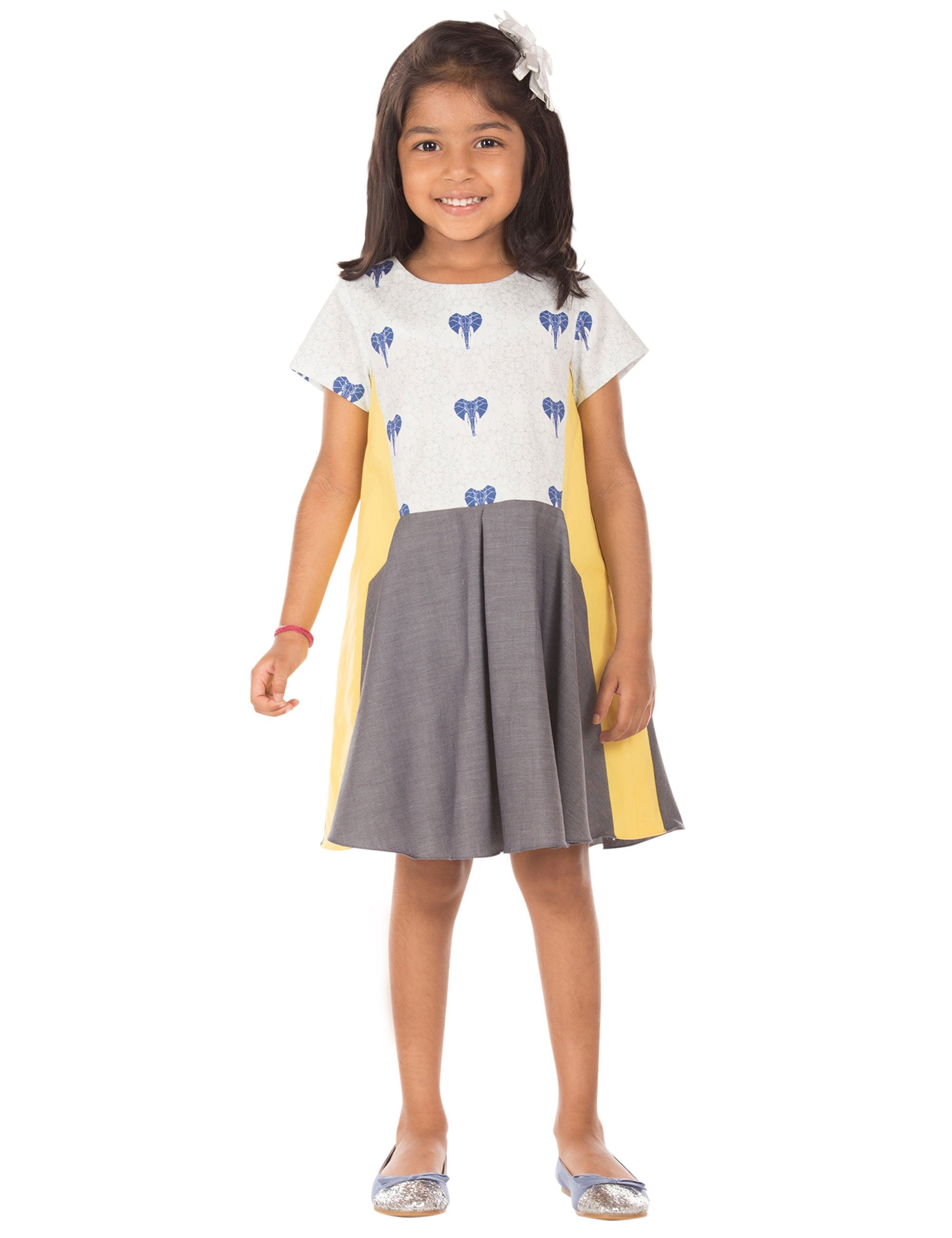 191ee05226 Buy Elephant Print Dress in Grey Colour for Girls at best Price ...