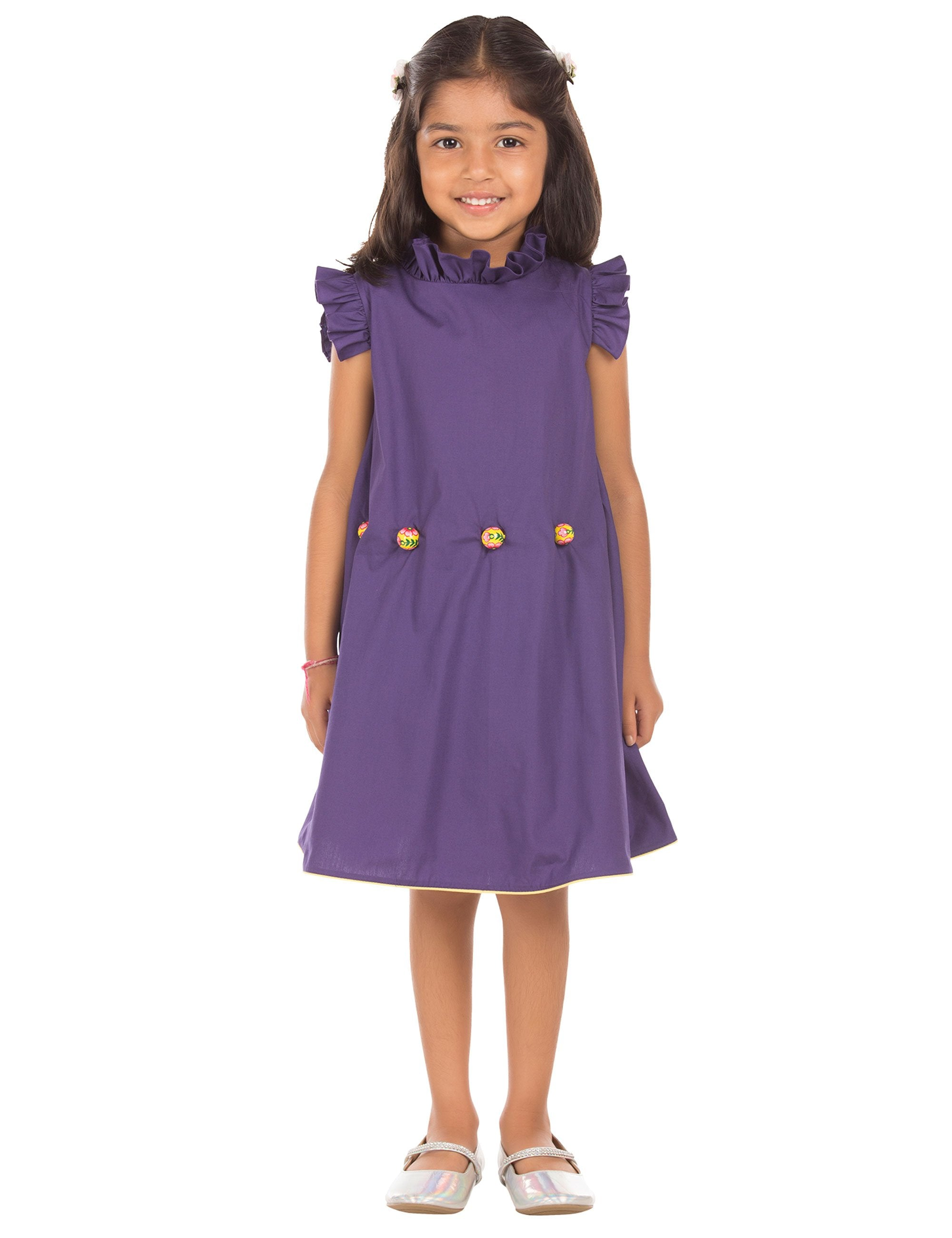 Cotton Dress with Ruffled Collar in Purple Colour for Girls
